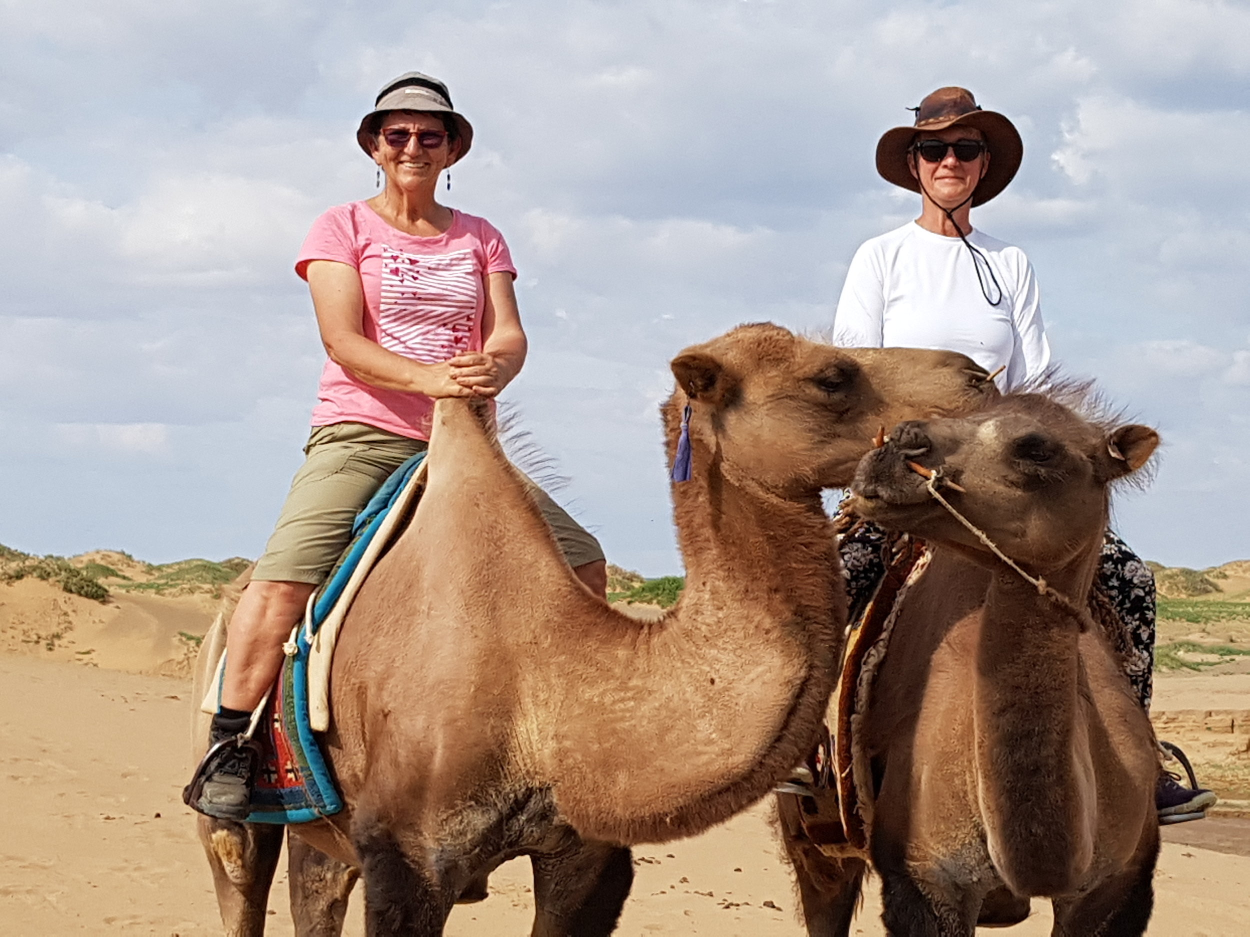 Pamela and Francien riding on Bactrian camels