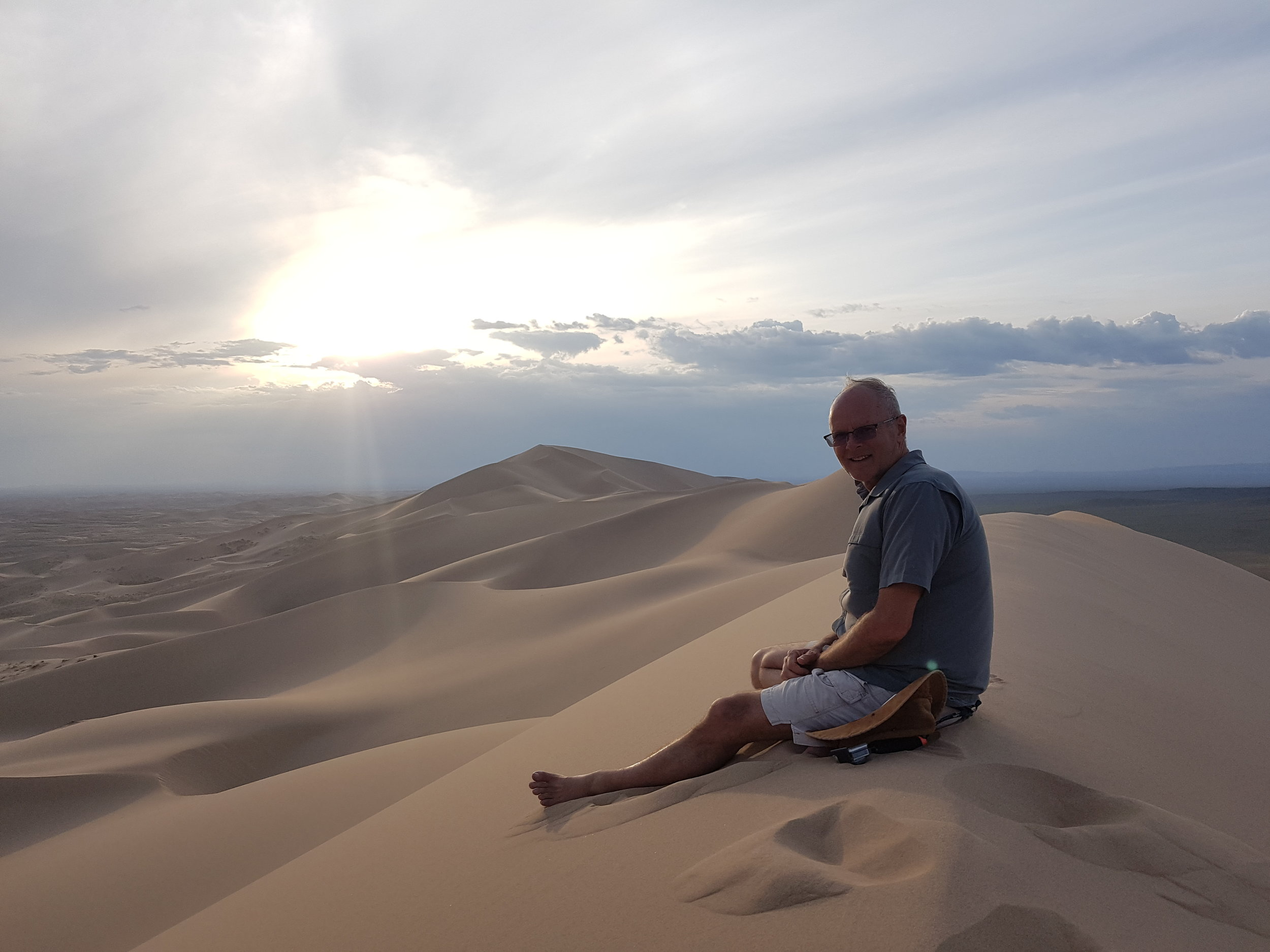Enjoying the view on top of the 250 meter high dune