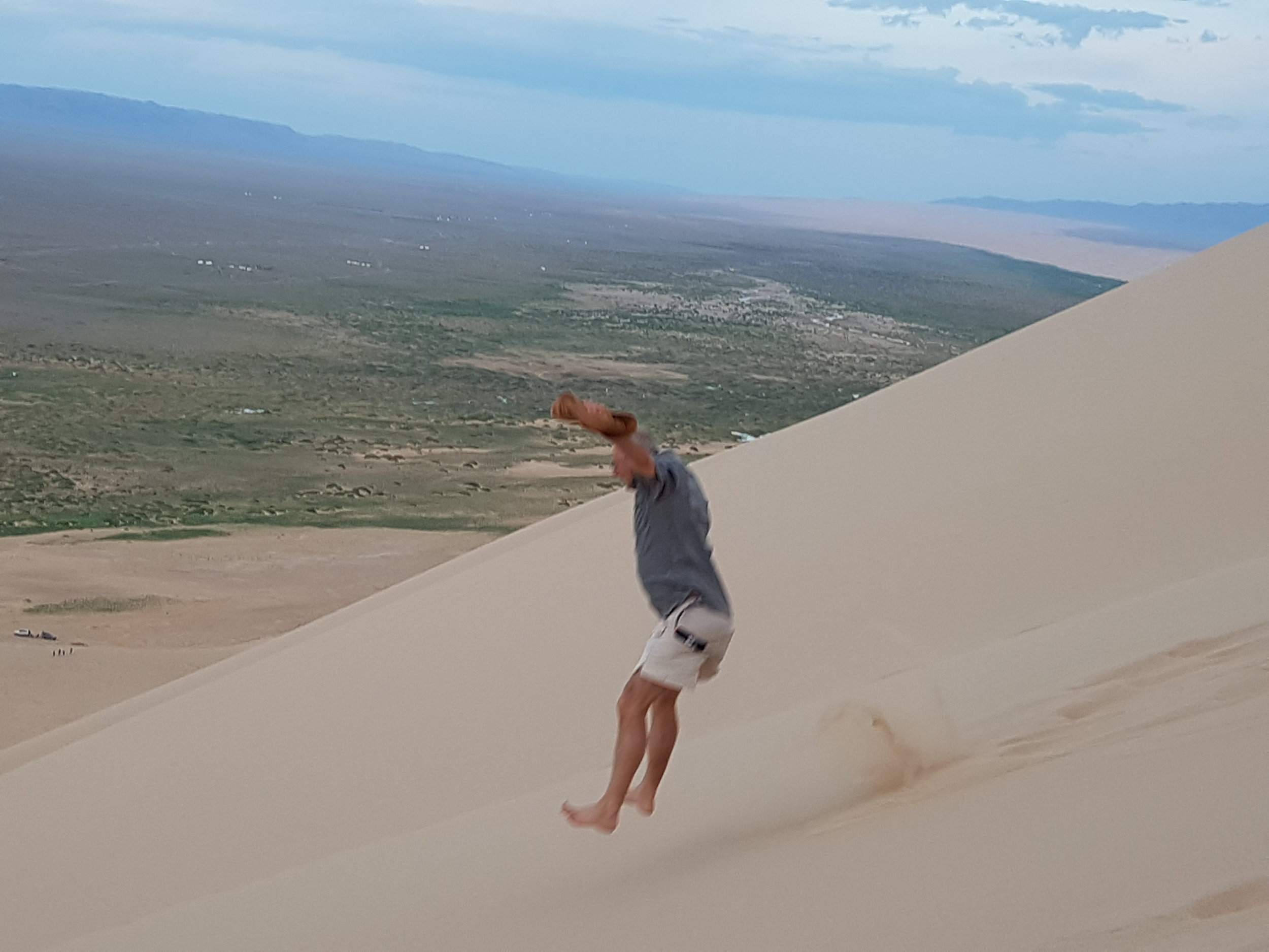 Going down the dune is easier than walking up