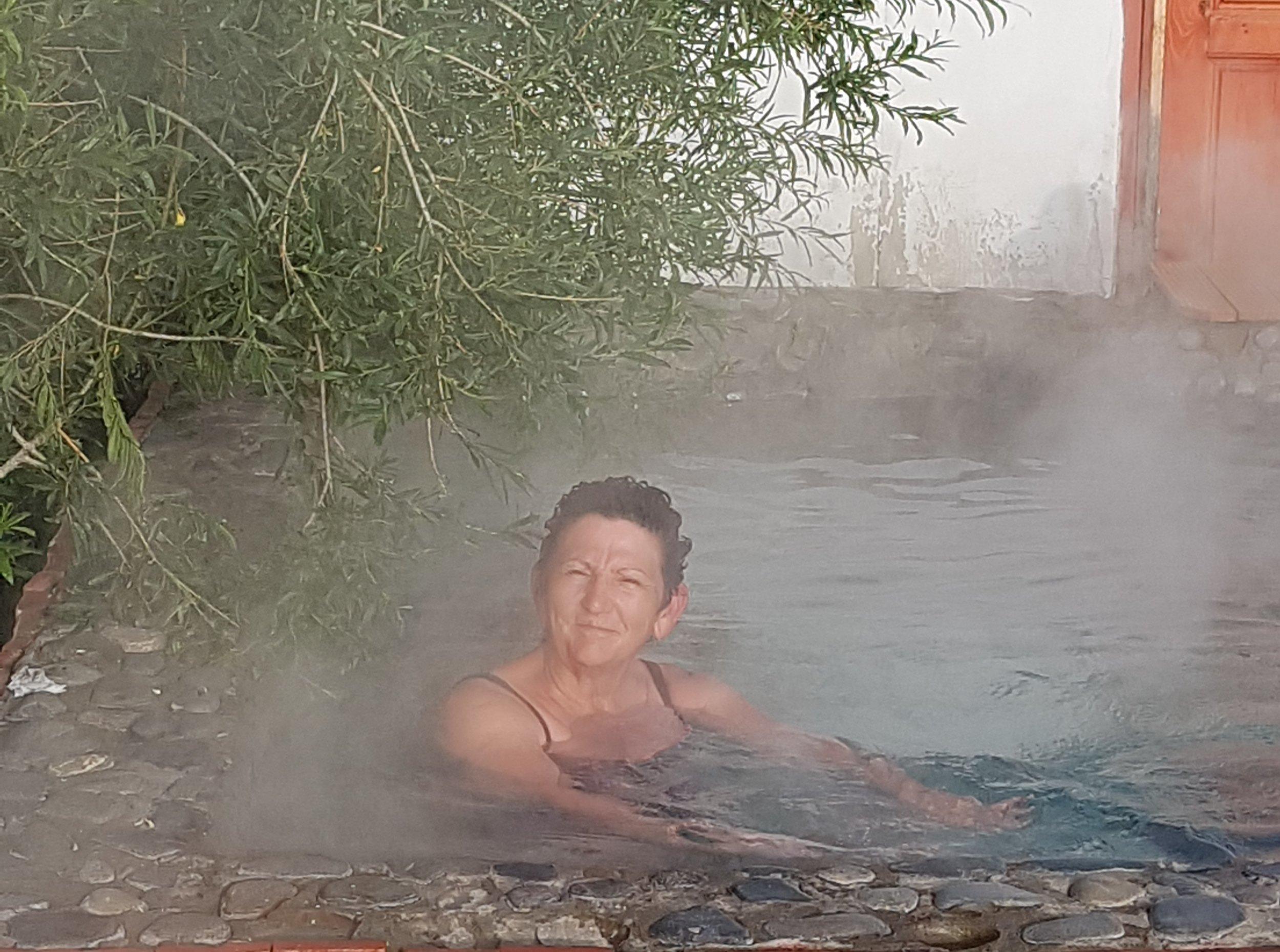 Enjoying hotsprings