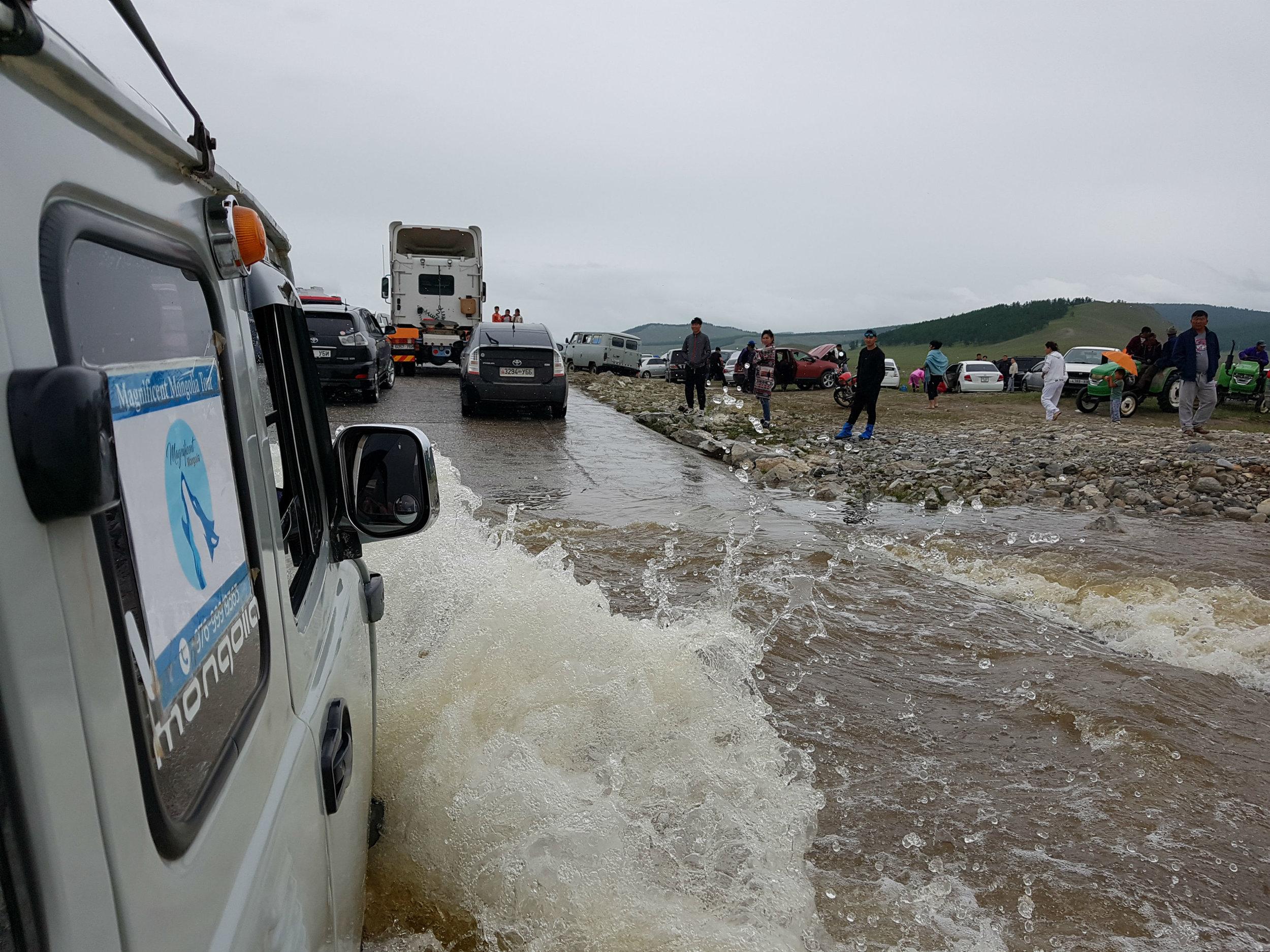 Crossing flooded river crossings was dangerous