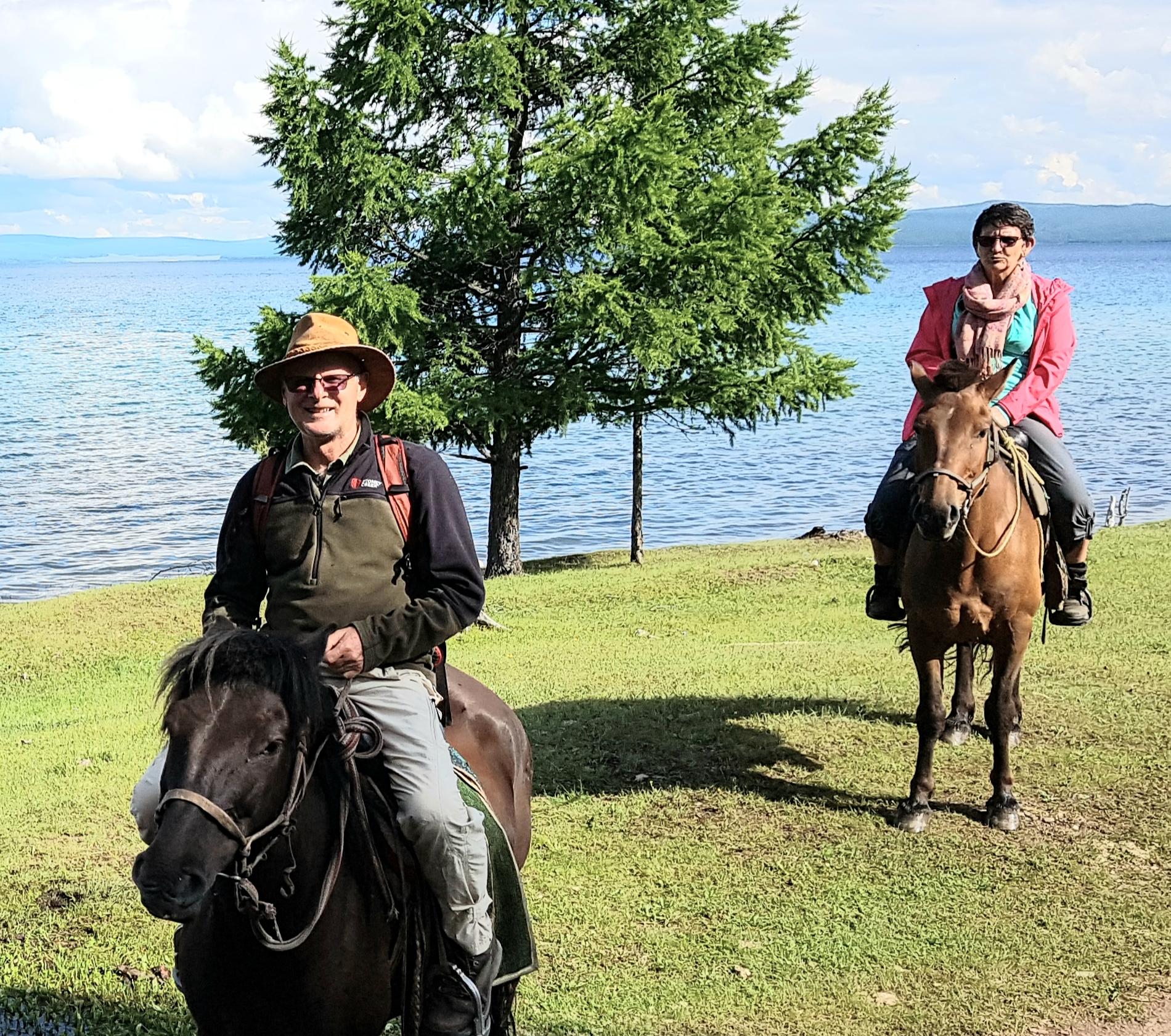 Horse riding at the Khuvsgul Lake