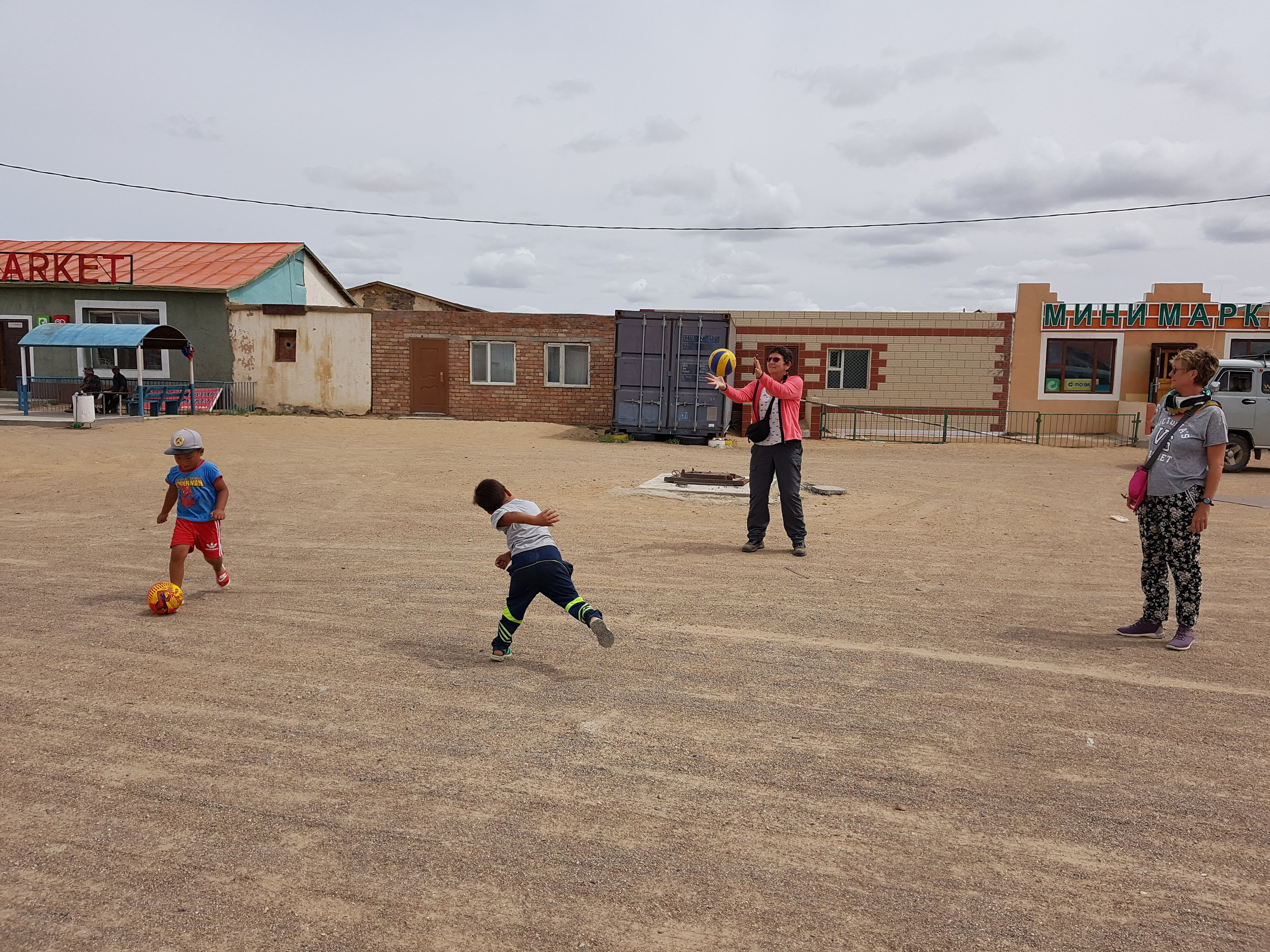 Playing football with the local boys