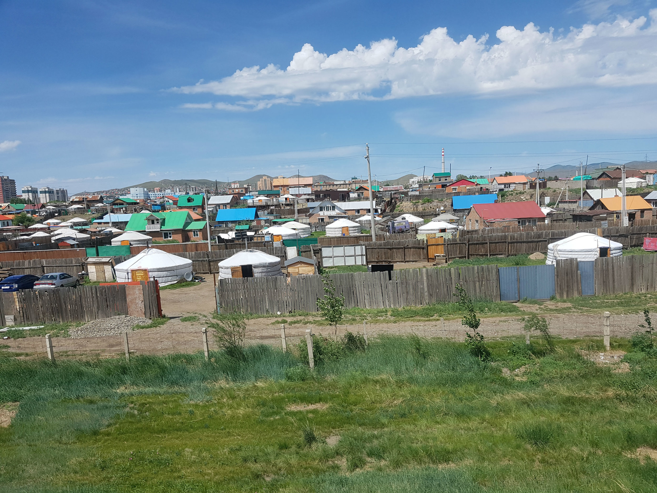 Ulaanbataar: note the gers of the nomadic people moving into the city