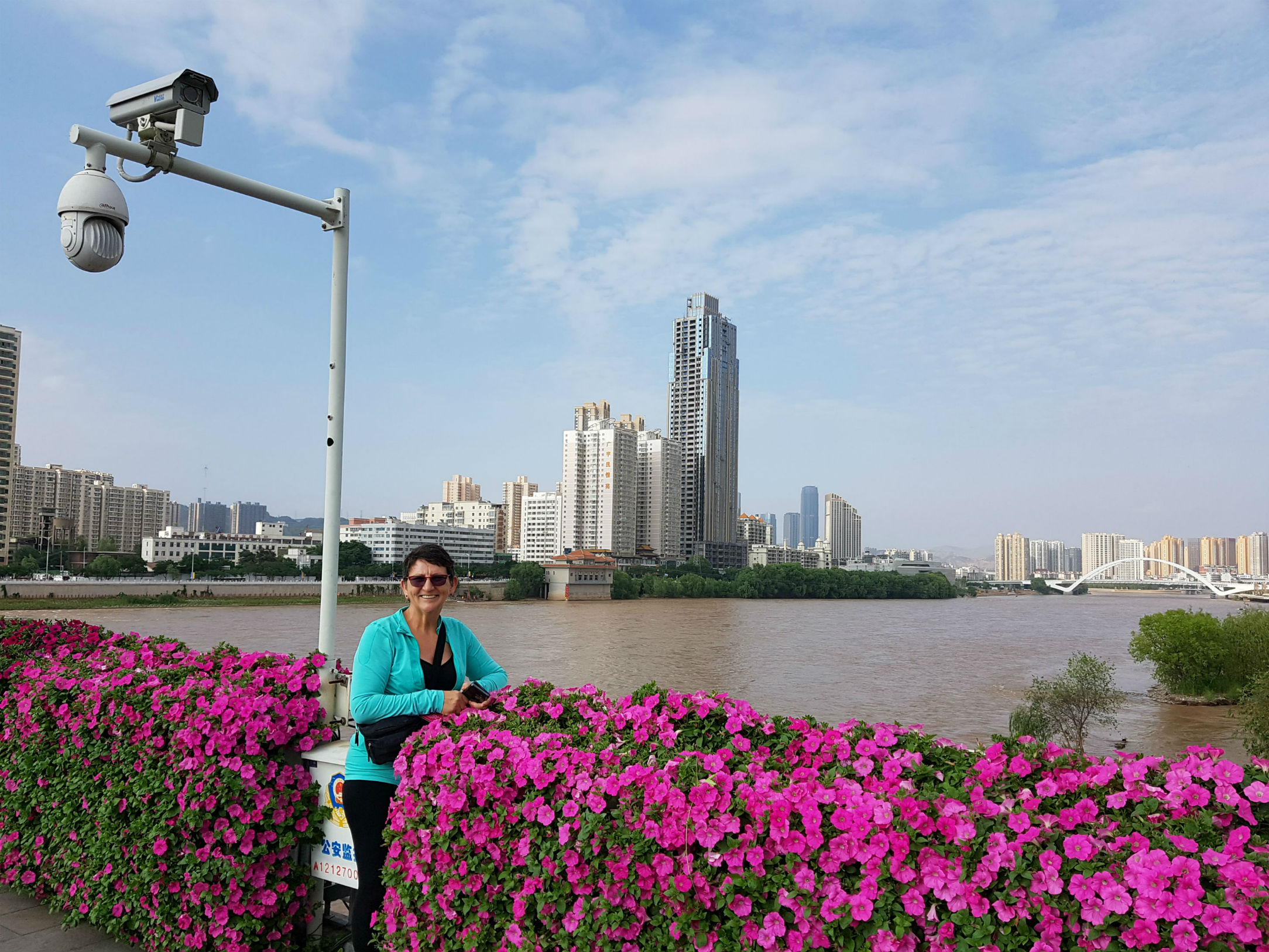 Yellow River in Lanzhou - note the CCTV camera's