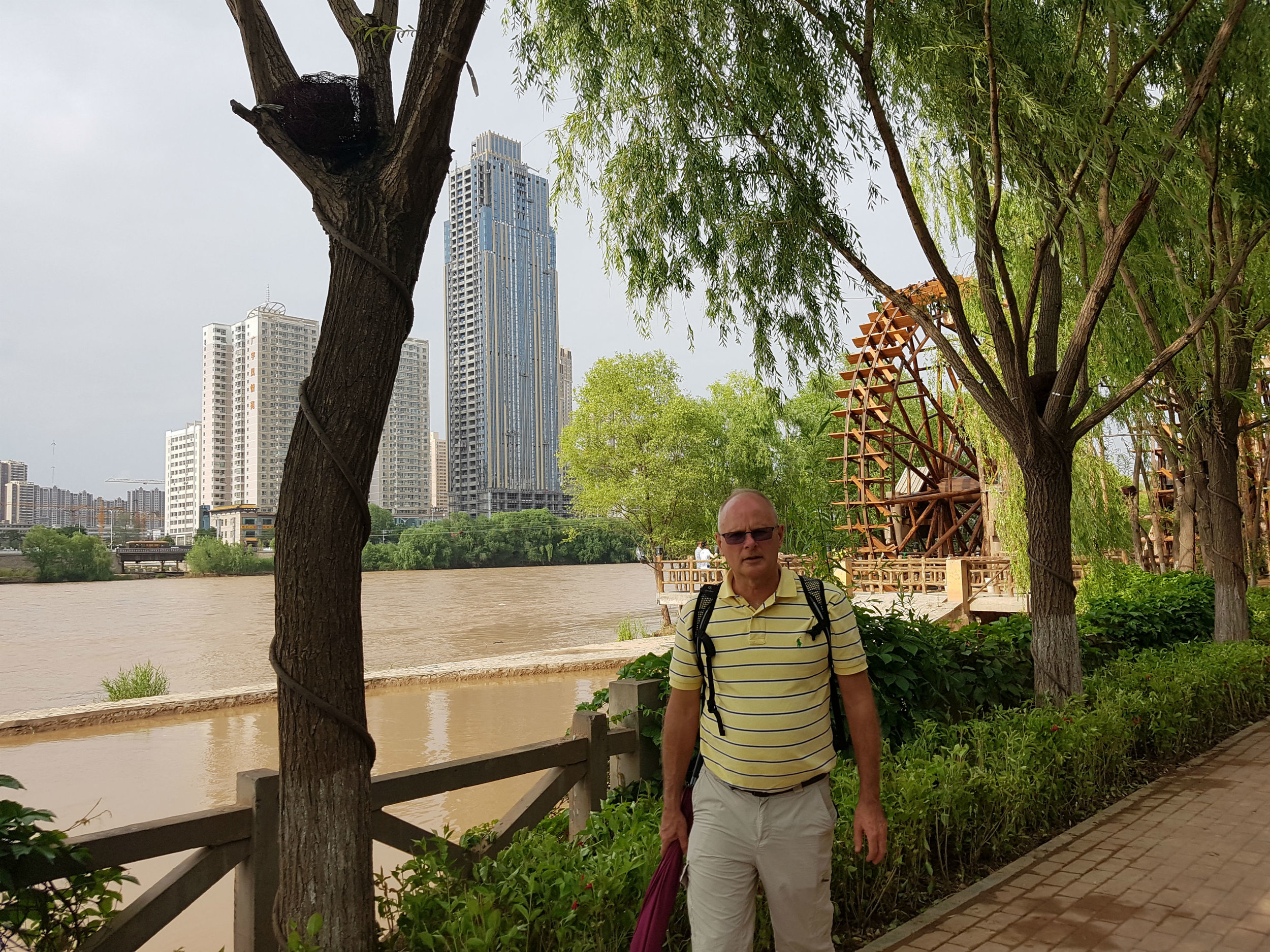 Yellow River in Lanzhou - note ancient water wheel