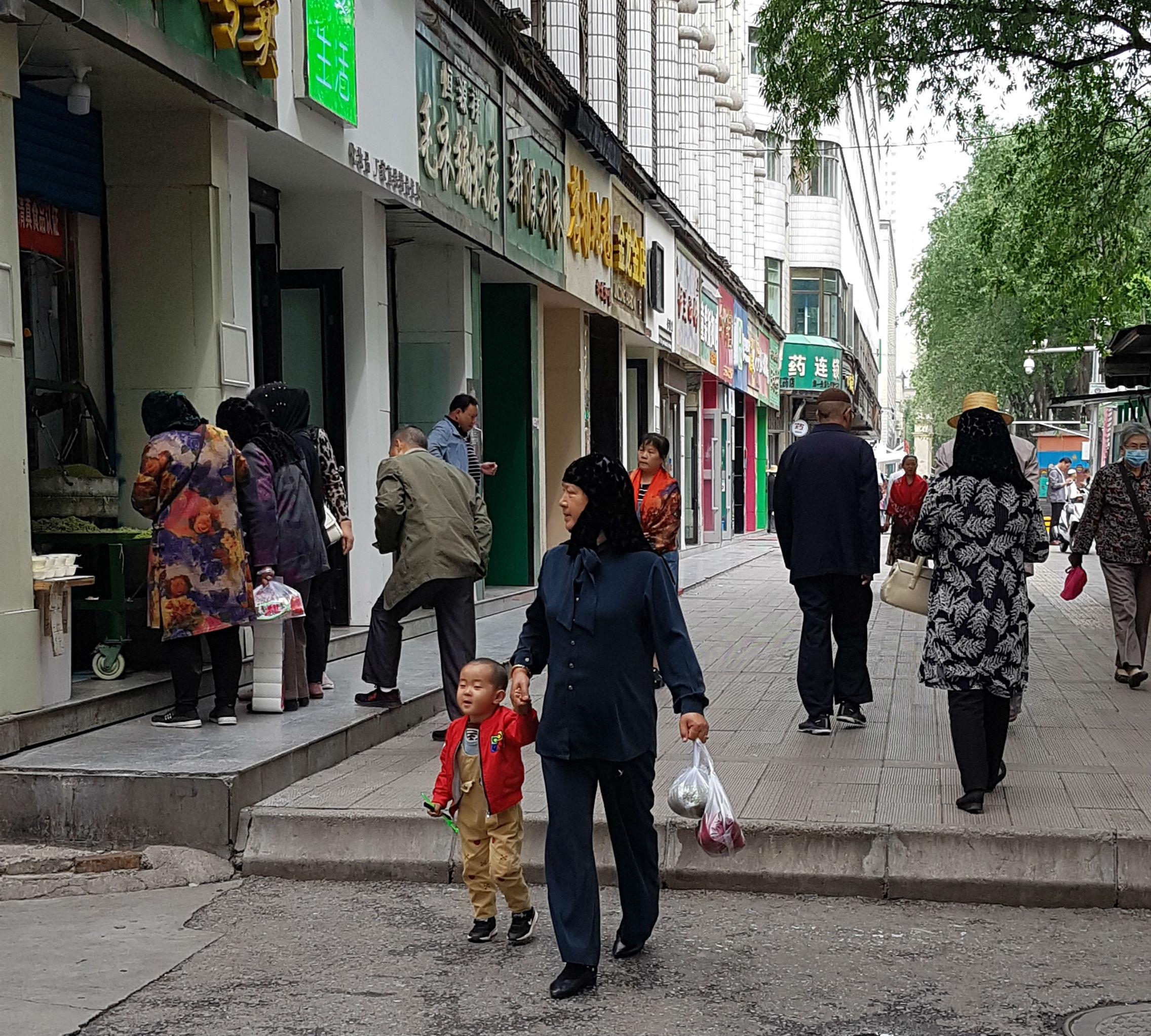 Hui women walking in Xining