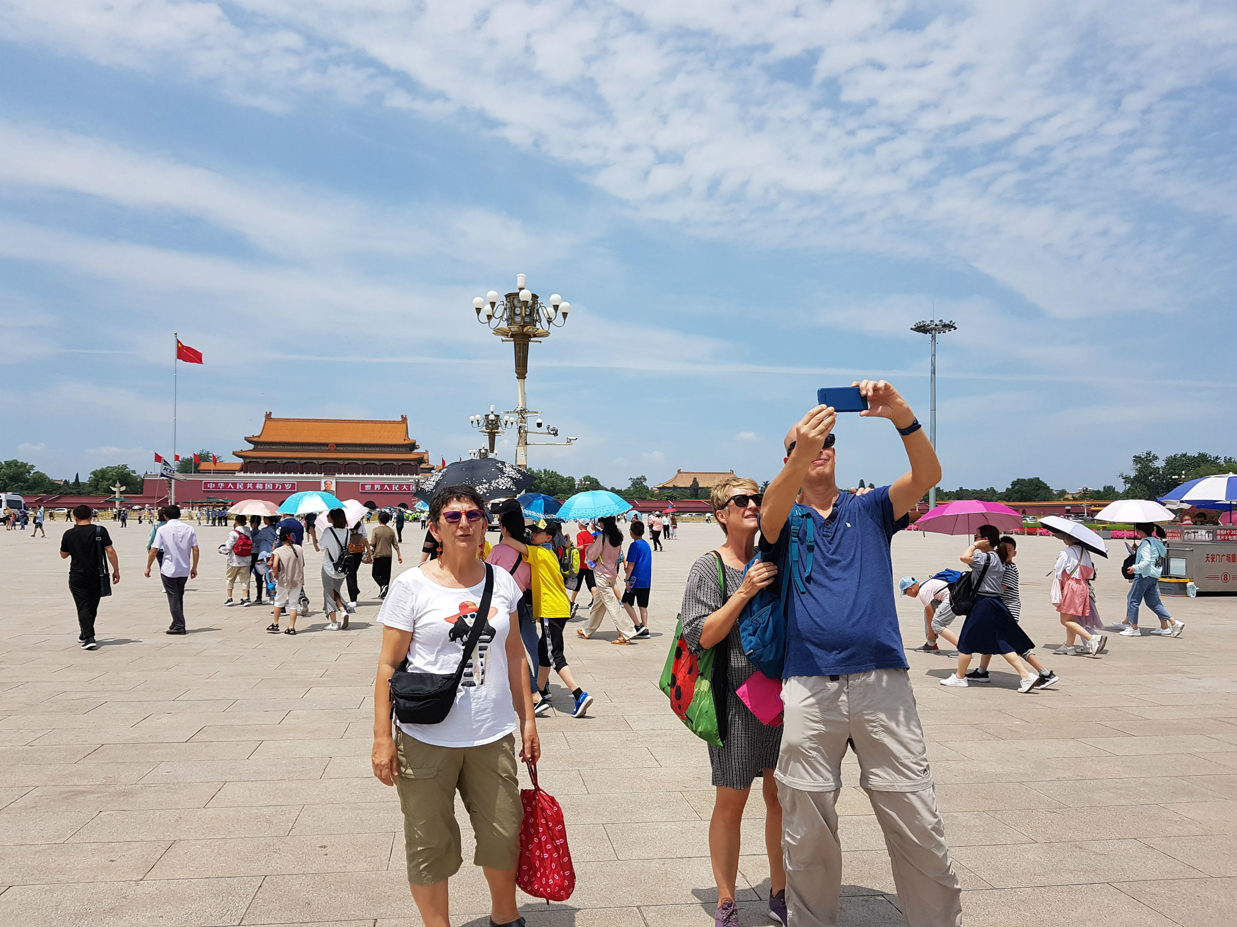 Taking selfies with Pamela and Berry on Tiananmen Square