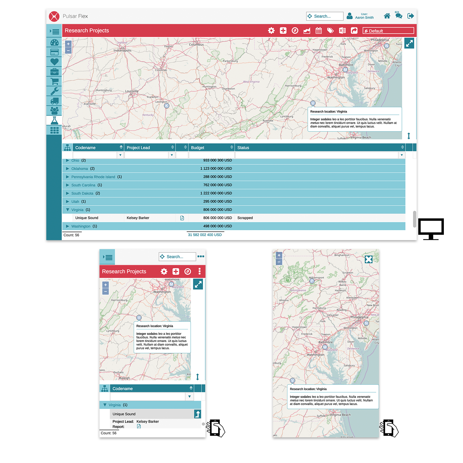 GIS plugin activated on desktop and mobile, plus a full screen view on mobile.