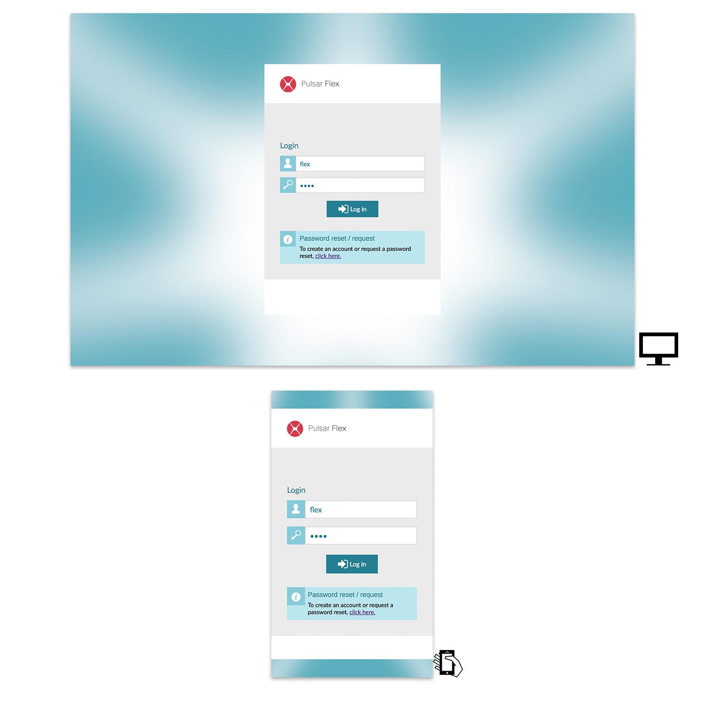 Login screens on desktop and mobile.