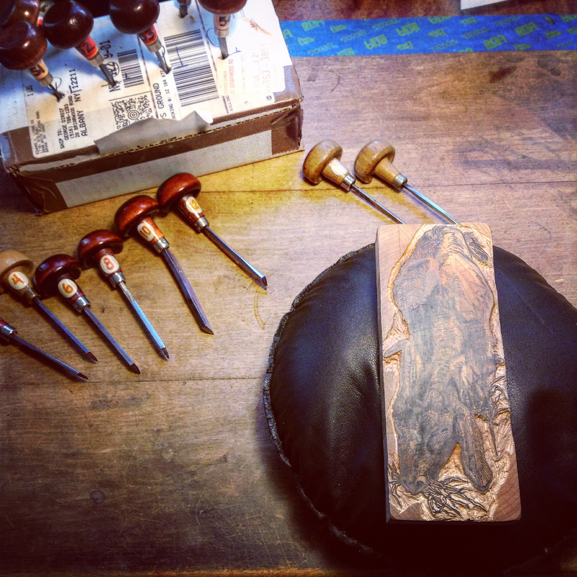 Cutting block, engraving tools, and leather engraving pad