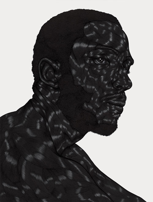Toyin Ojih Odutola, Taken from  Alphabet:   A Selected Index of Anecdotes and Drawings, 2012.  Above:Toyin Ojih Odutola, Pregnant , 2017.