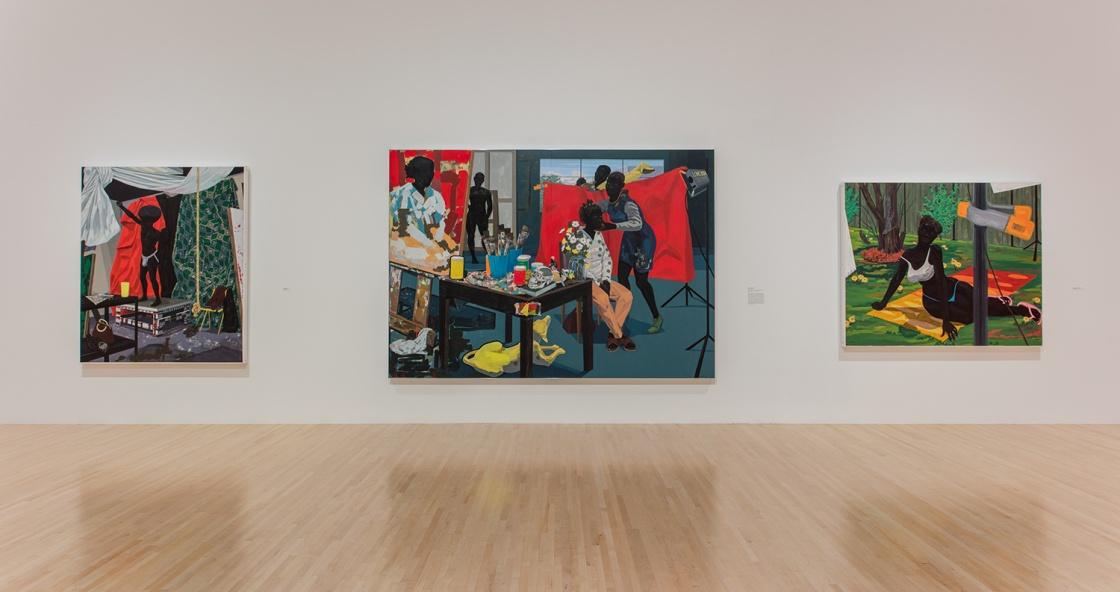 Installation shot of  Kerry James Marshall: Mastry  at MOCA LA . Ph:Brian Forrest  Above Photo: Carys Huws