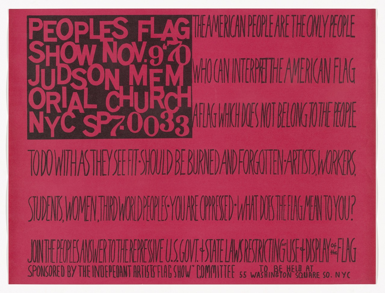 Faith Ringgold,  The People's Flag Show , 1971