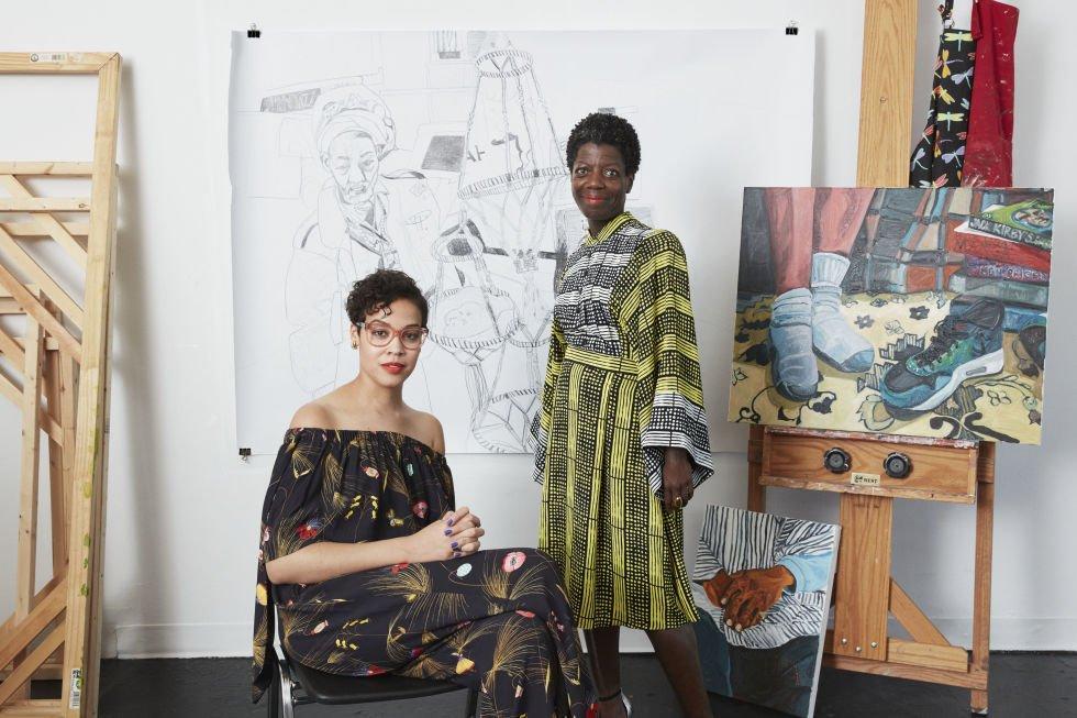 Artist Jordan Casteel (left) and Thelma Golden in Casteel's studio.