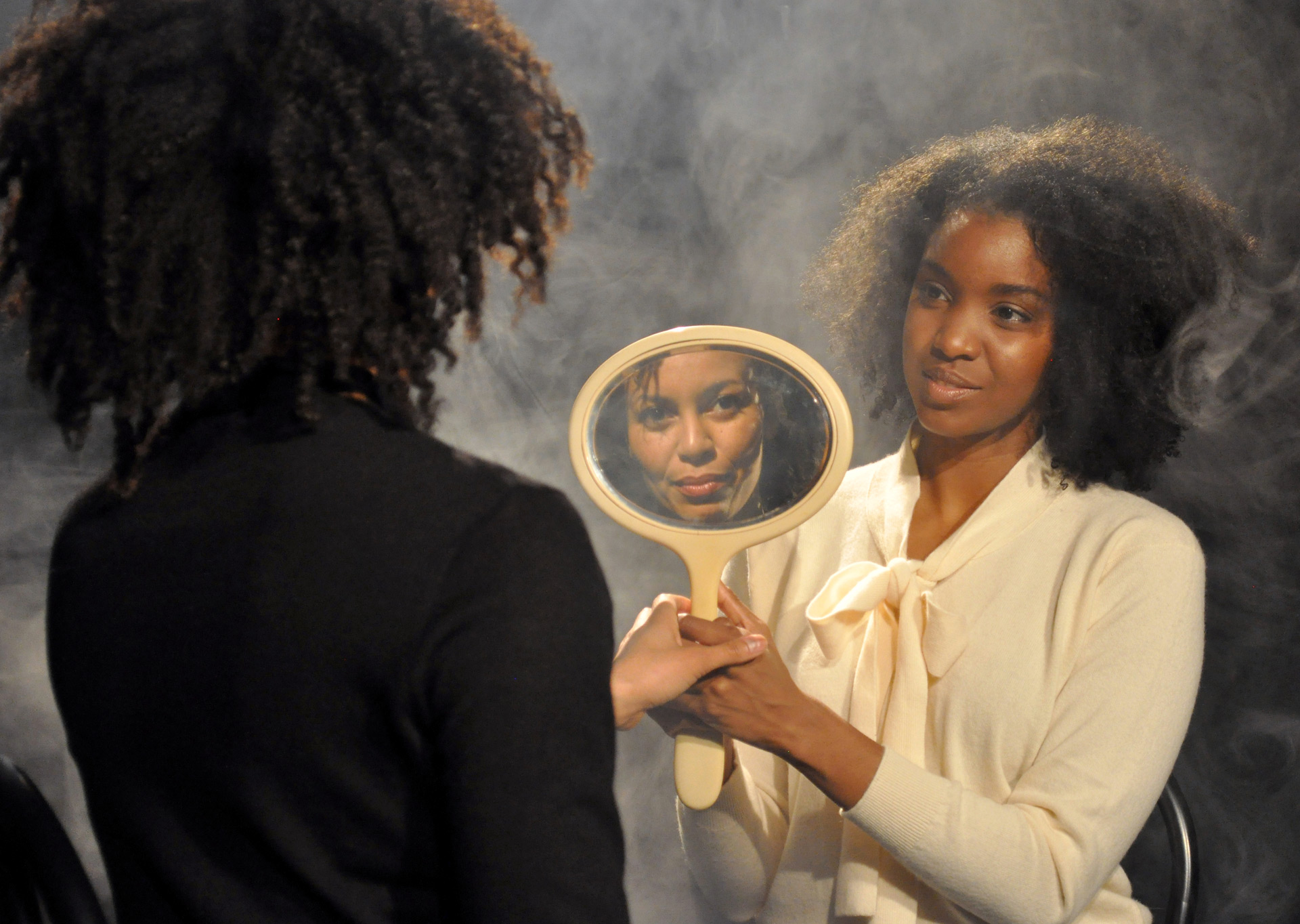 """Carrie Mae Weems, """"The Considered,"""" Courtesy of the artist and Jack Shainman Gallery, New York. ©Carrie Mae Weems  Above: Photograph by Brielmaier's husband,Mangue Banzima."""
