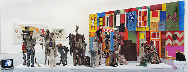 Dilomprizulike, Waiting for Bus , 2003 (center) and Antonio Ole,  Townshipwall No 611, 2004 (right).Featured in  Africa Remix  at Museum Kunst Palast, Düsseldorf, 2004.