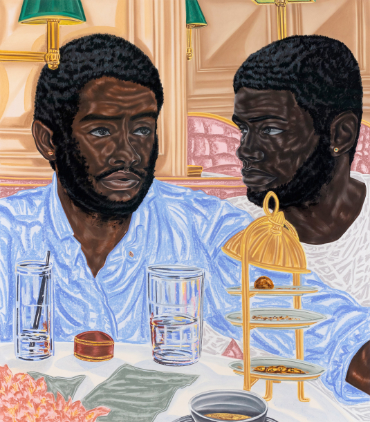"""Toyin Ojih Odutola, """"The Proposal,"""" pastel, charcoal and pencil on paper, 53.5"""" x 47.9"""" x 2.5"""", 2017. Courtesy of the artist and Jack Shainman Gallery, New York, New York. © Toyin Ojih Odutola."""