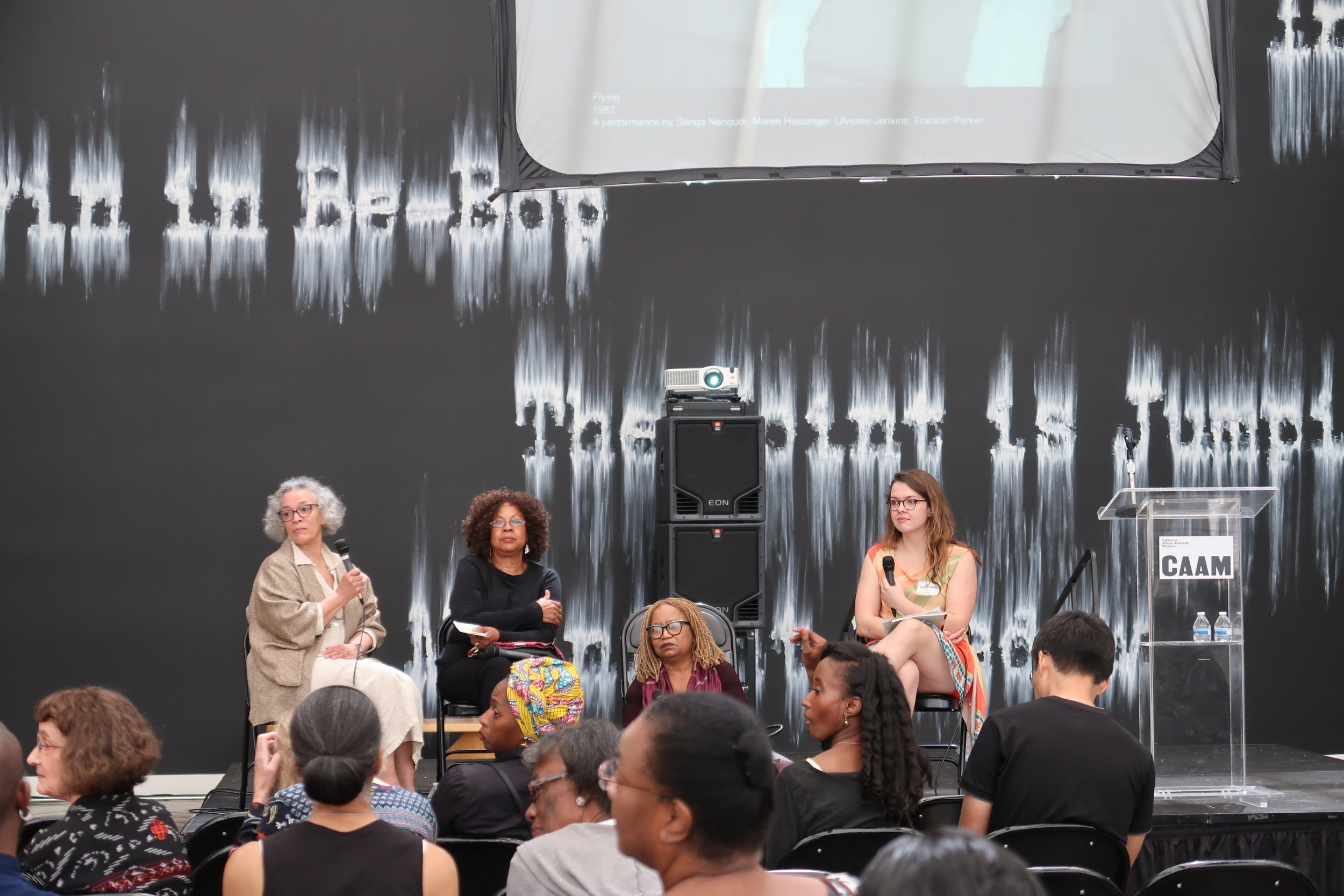 (from left to right) Maren Hassinger, Senga Nengudi, Barbara McCullough, and Isabel Wade at Conversation: 'Ritual in Rearview' panel discussion. A Day with Senga Nengudi Symposium at the California African American Museum in LA, April 14, 2018.