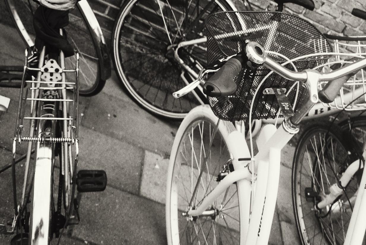 In Copenhagen everyone rides a bike.  / Em Copenhaga toda a gente anda de bicicleta.
