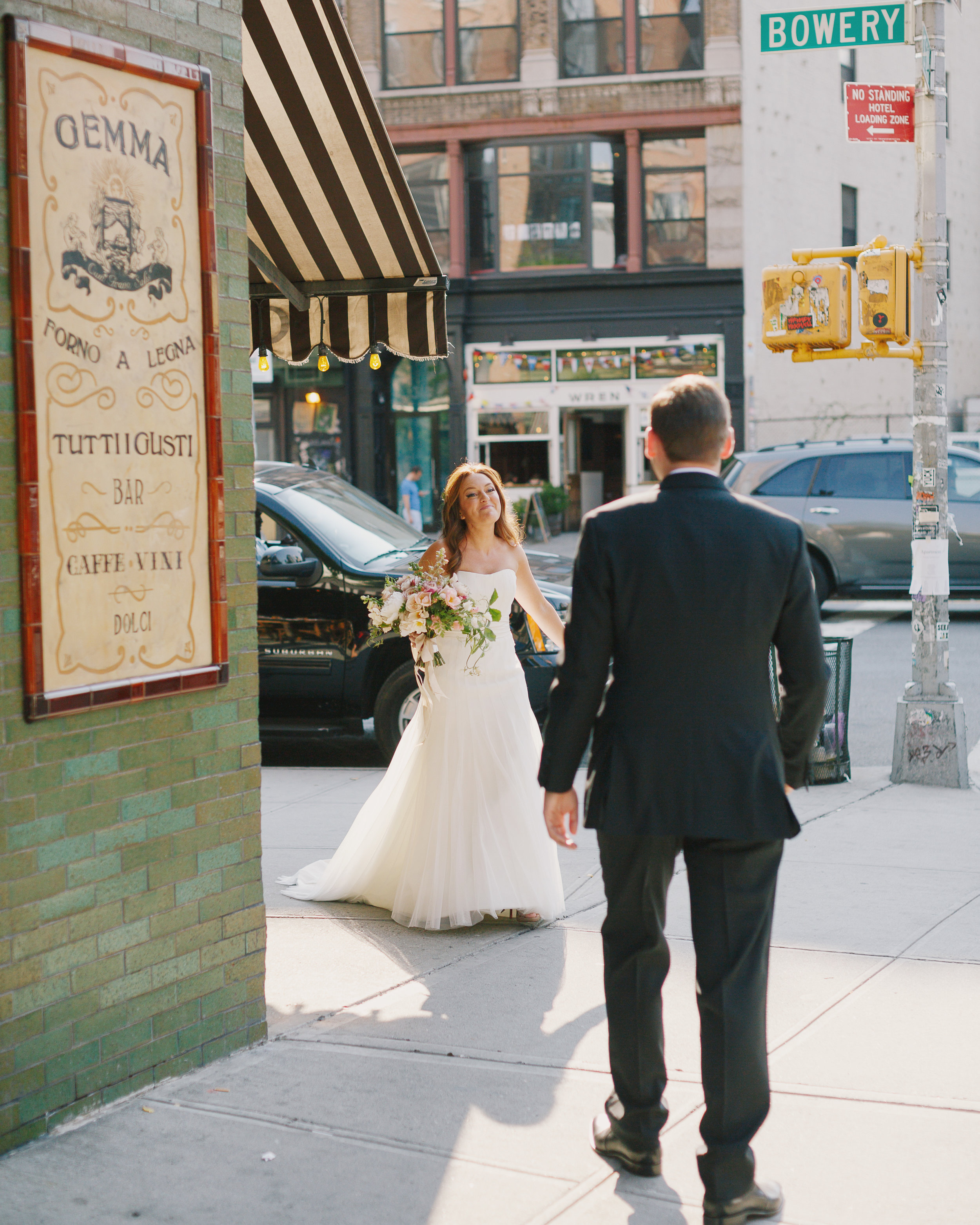 Alyse and Max choose a street location outside the Bowery Hotel for their first look.