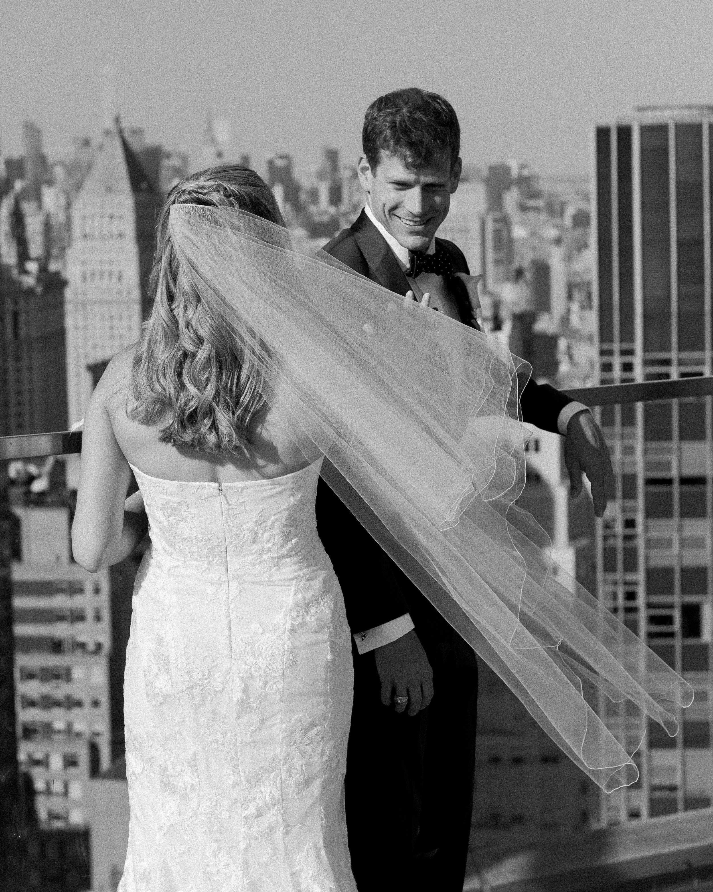 The roof of the Andaz hotel in lower Manhattan proved to be a wonderful place for Frankie and Scott's first look.