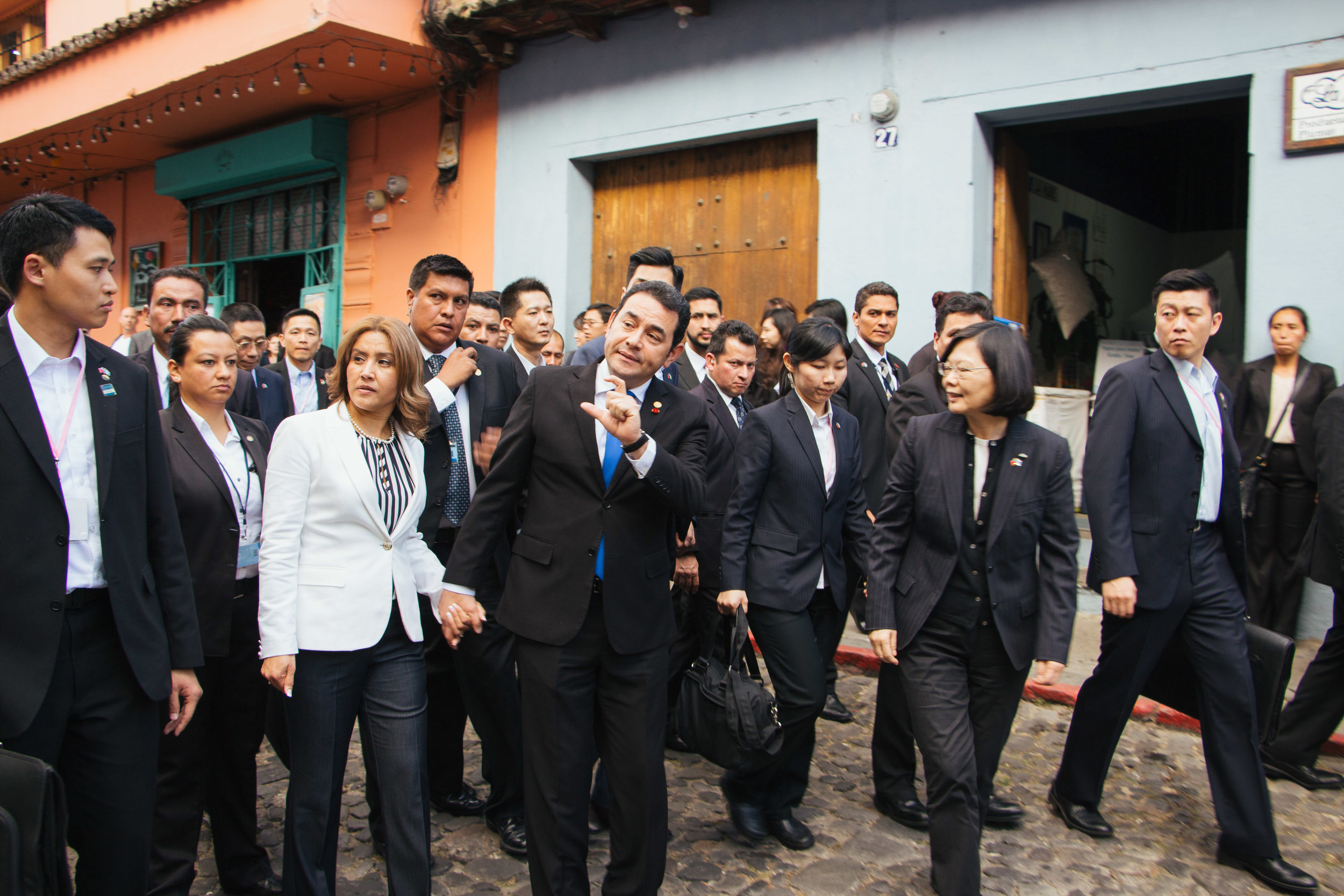 GUATEMALAN PRESIDENT JIMMY MORALES AND TAIWANESE PRESIDENT TSAI INGWEN STROLL THROUGH THE STREETS OF ANTIGUA, GUATEMALA. ANTIGUA MAYOR SUSANA ASENSIO IS THE FIRST FEMALE MAYOR OF THE TOWN.