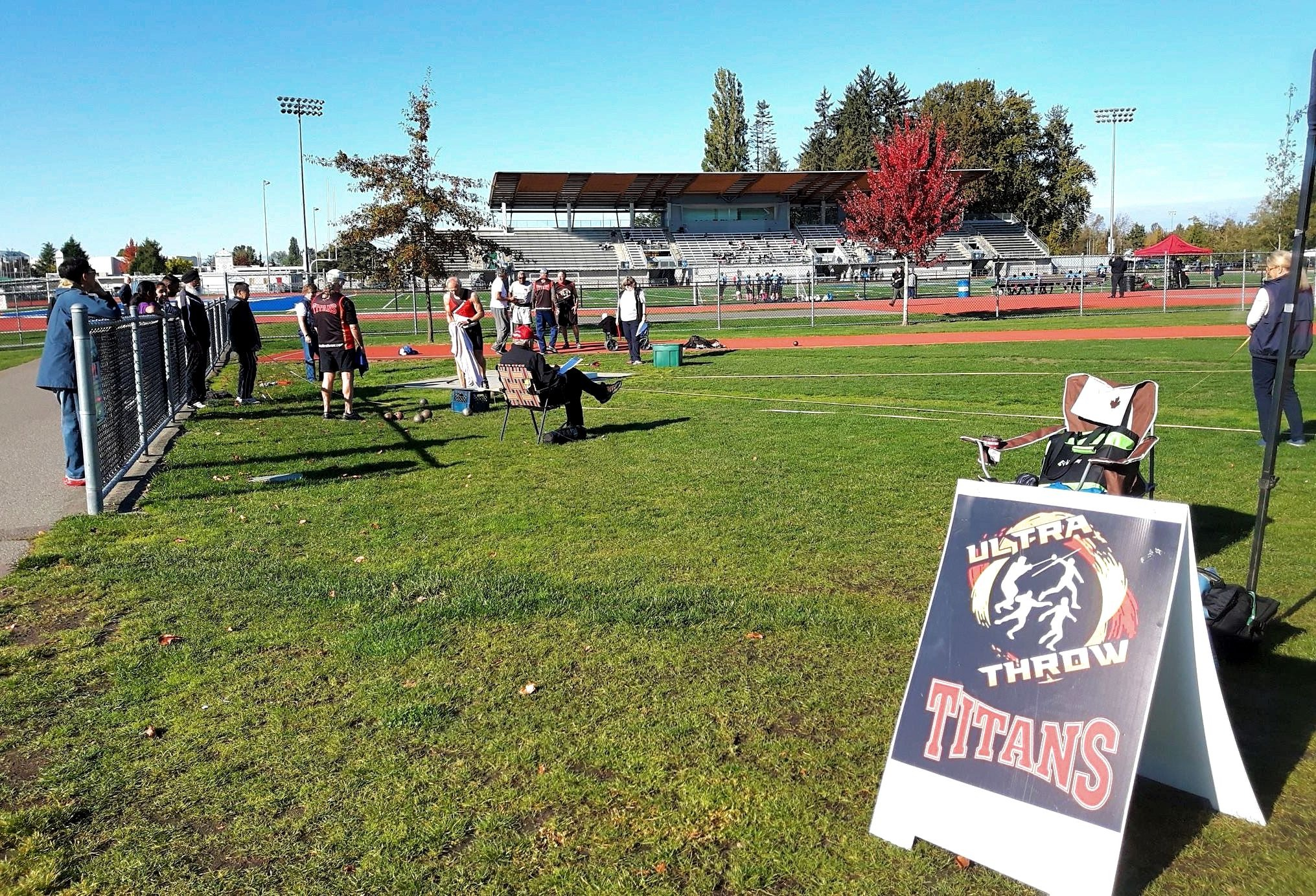 Shot put underway during our October 2017 festival at McLeod Park in Langley, BC.