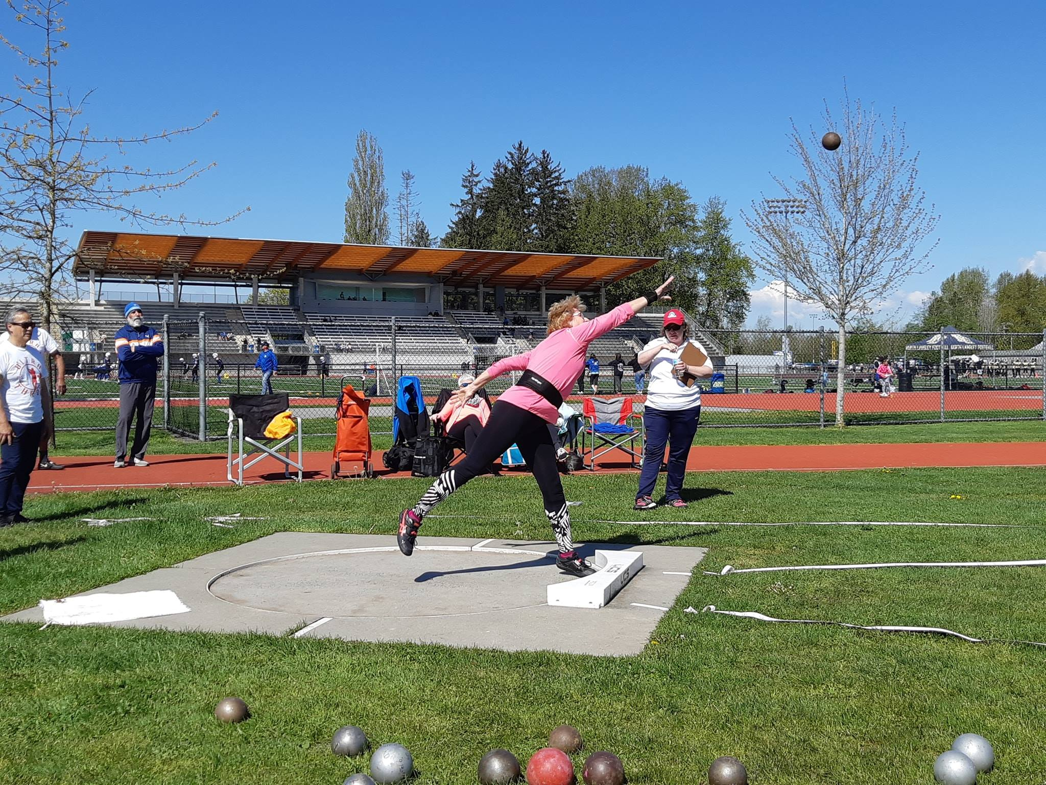 Laura Hessel of Alberta competes in the shot put in Ultra Throw Fest #1 in April 2019