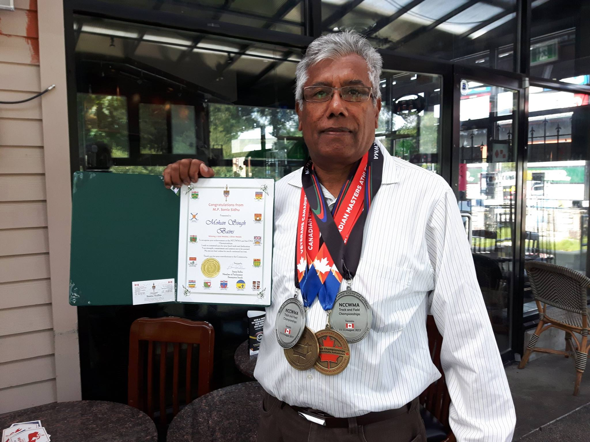 Mohan  in 2017 with his two gold and two silver at the CMA & the NCCWMA.