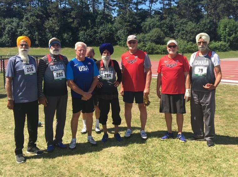 All prominent 'Weight Throwers' of North American Continent  Ultra Throw club member Harnek Toor (second left) in Toronto.