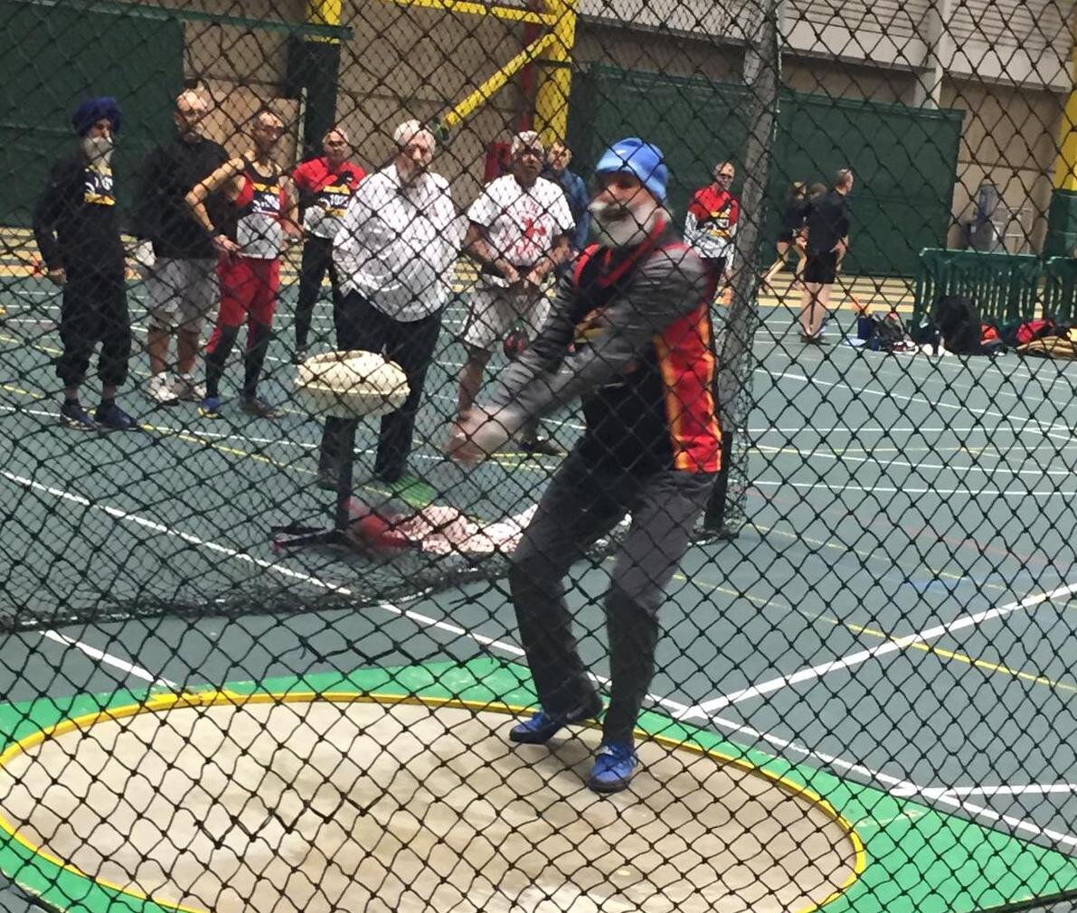 Harnek in action ( Weight Throw ) during Indoor CMA at Edmonton