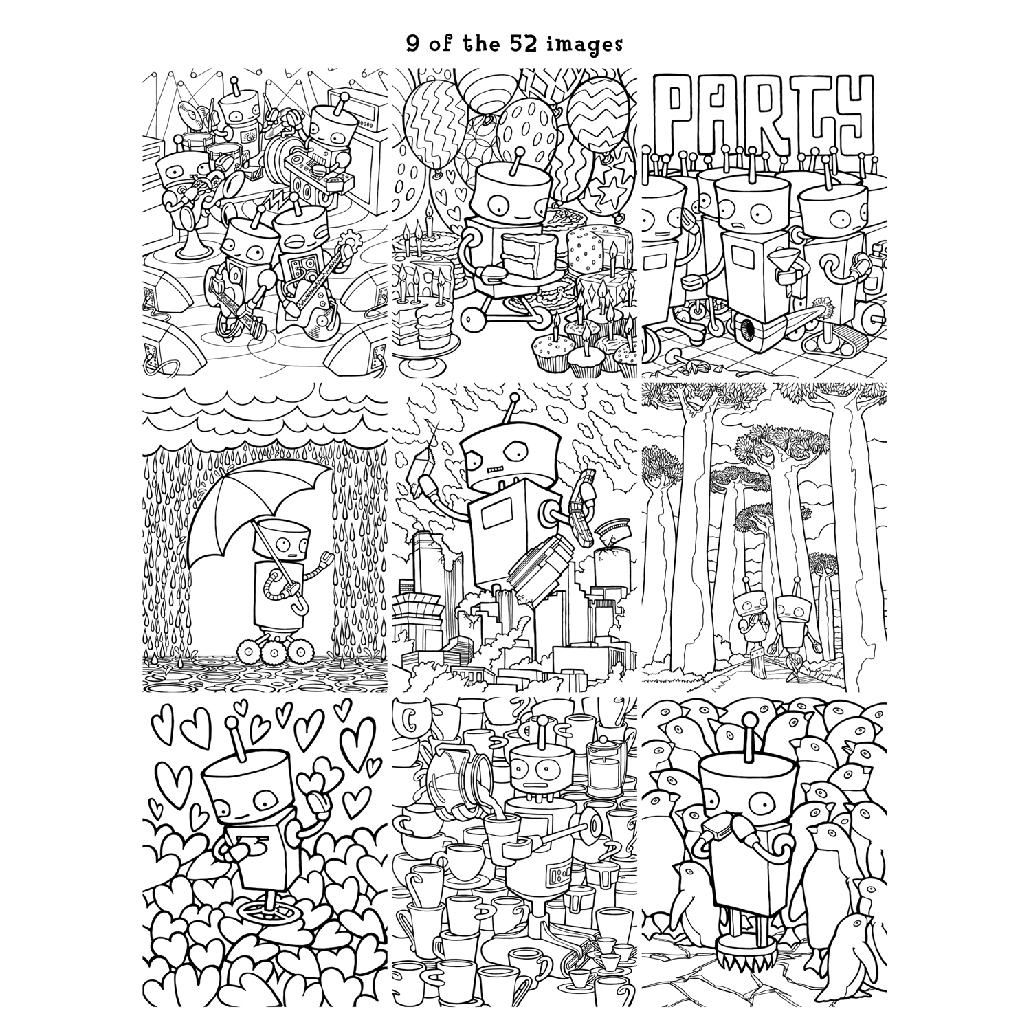 9 of the 52 pages of Robot Adventure: Inside The Robot coloring