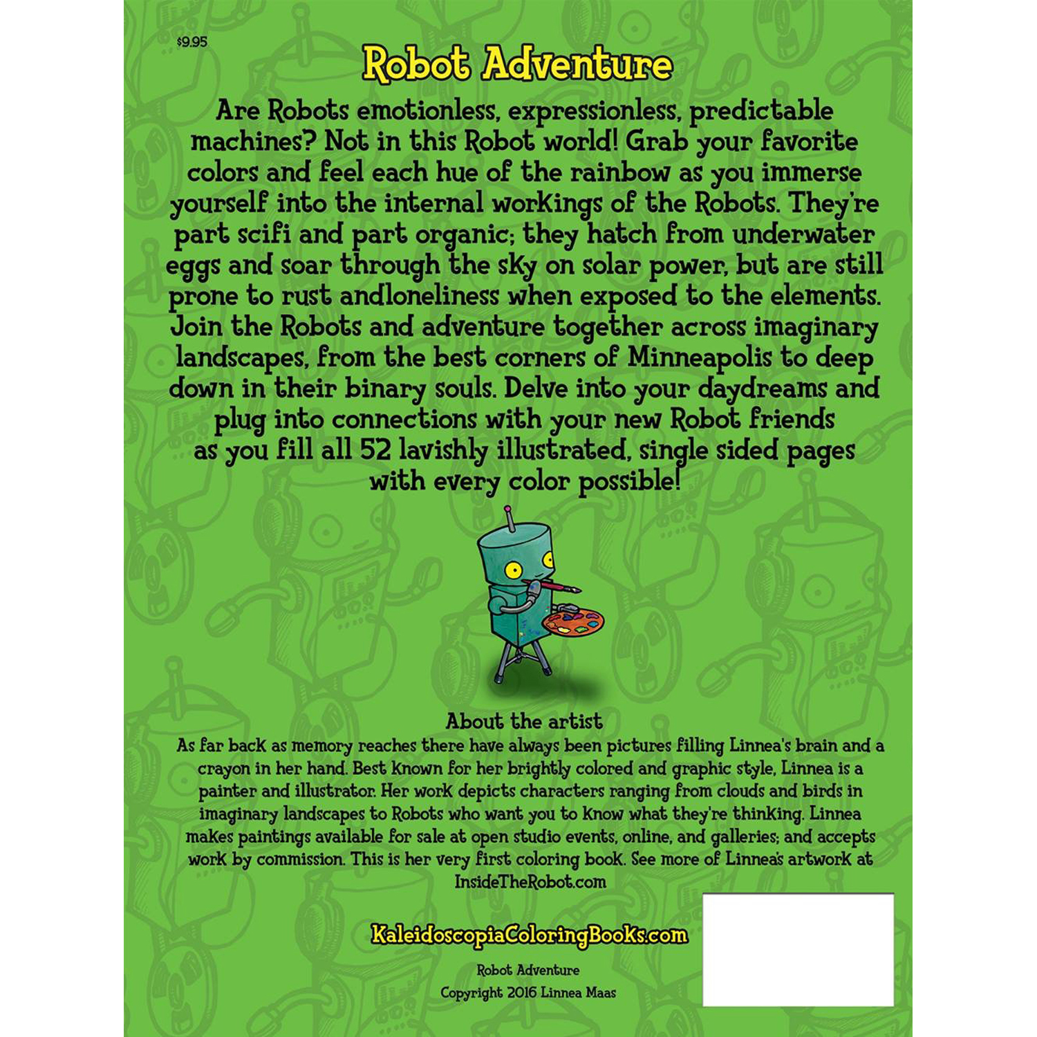 Back cover of Robot Adventure: Inside The Robot coloring book by