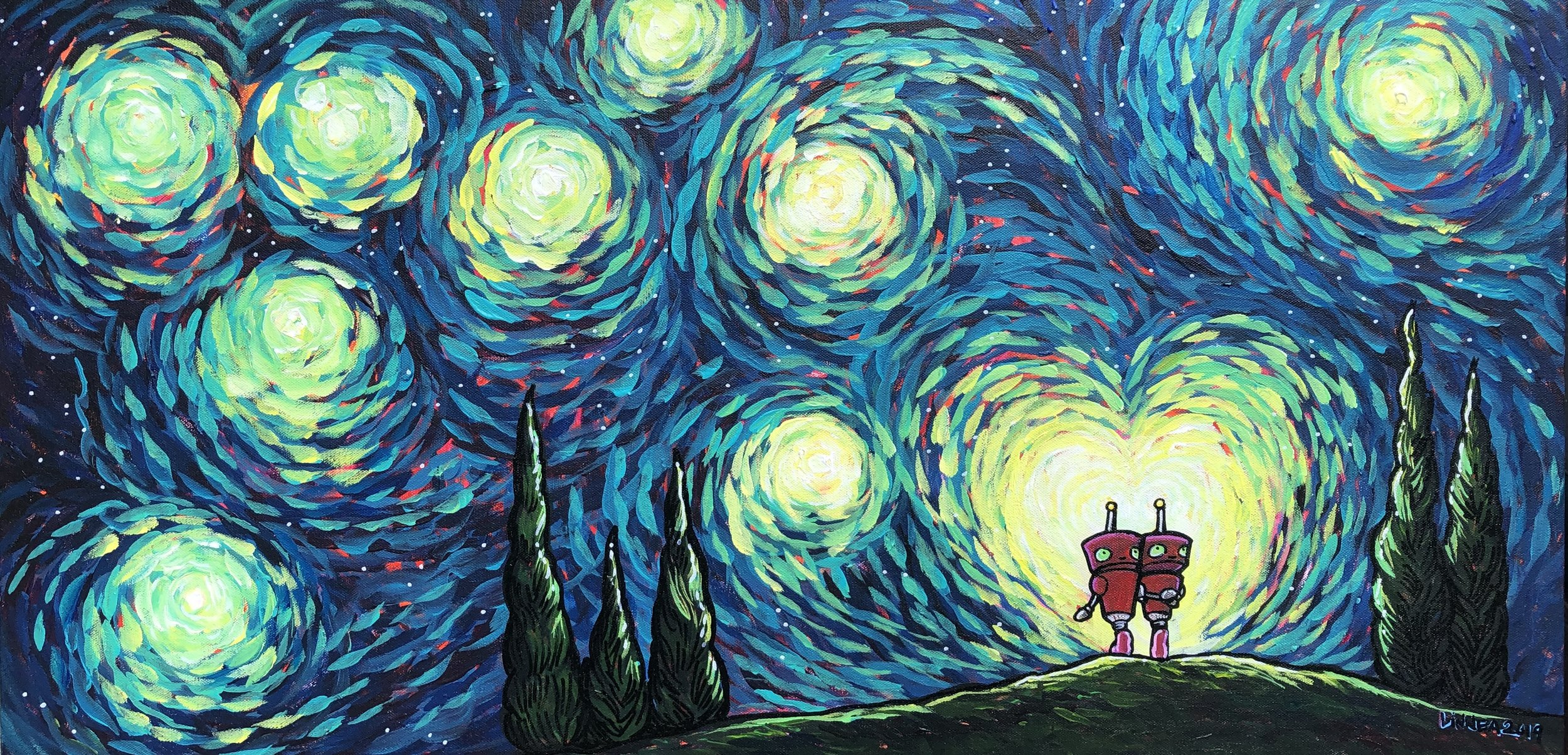 "Light Up The Universe. 18x36"" acrylic & ink on canvas, 2019."