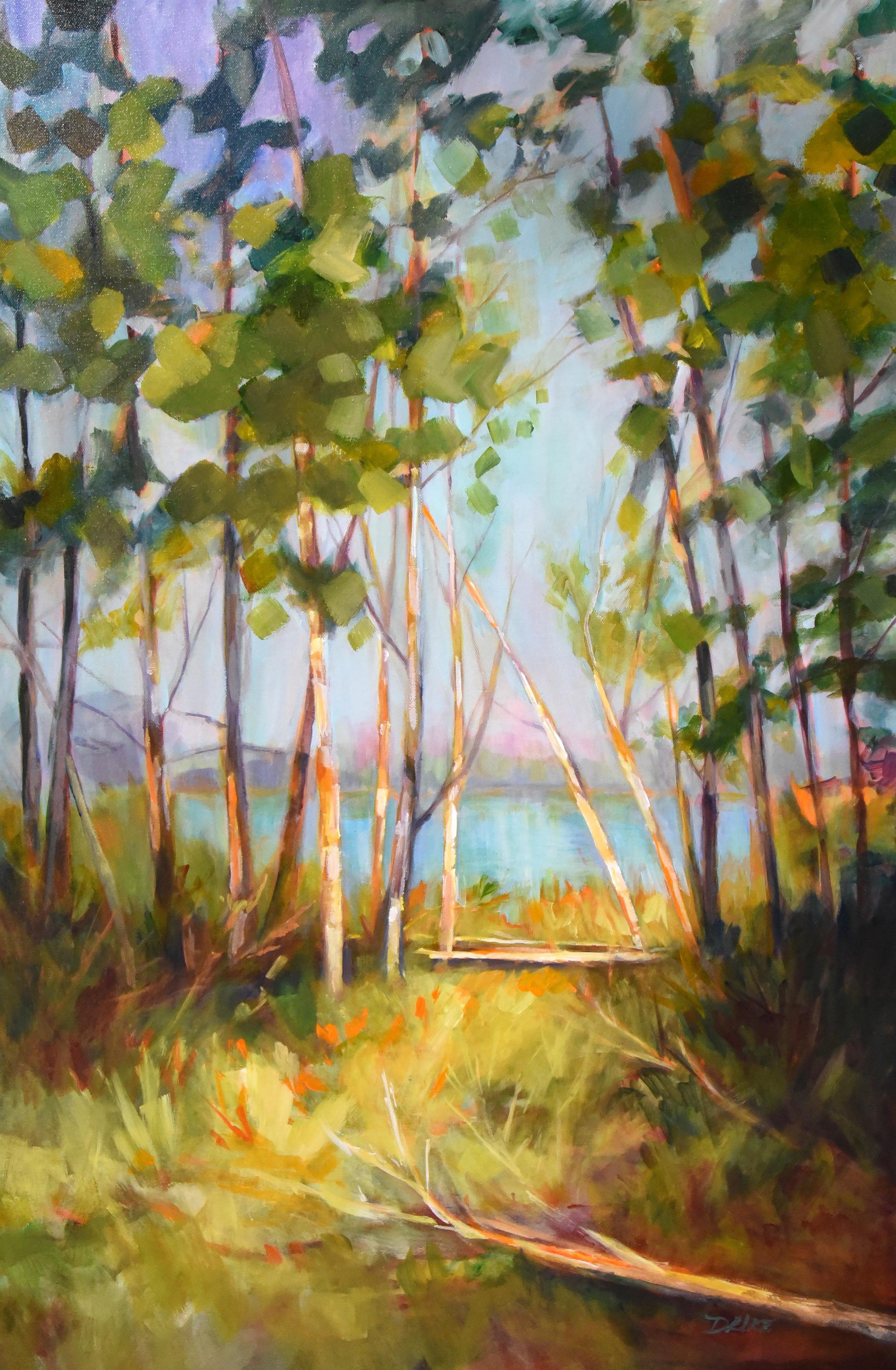"""Hidden Lake"", acrylic, 24x36"