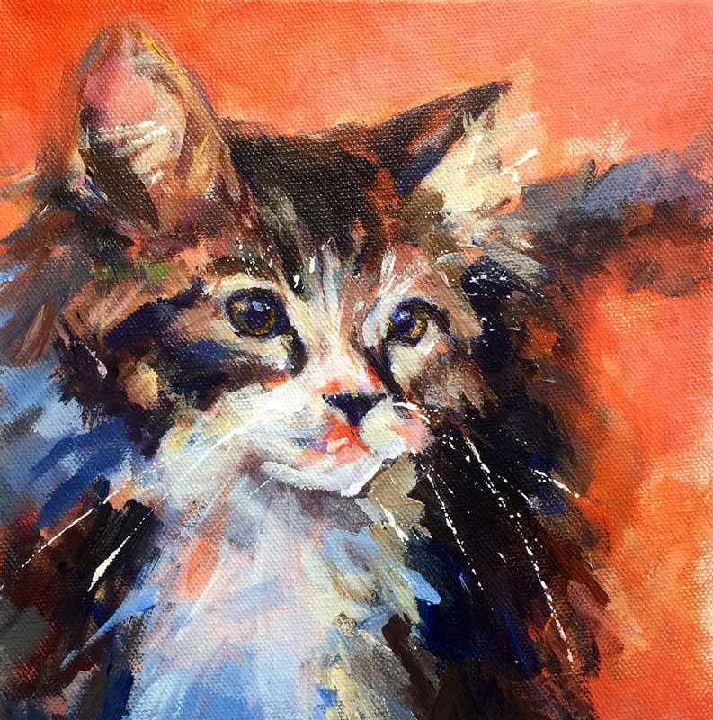 """Tiger Kitten, acrylic, 8x8"