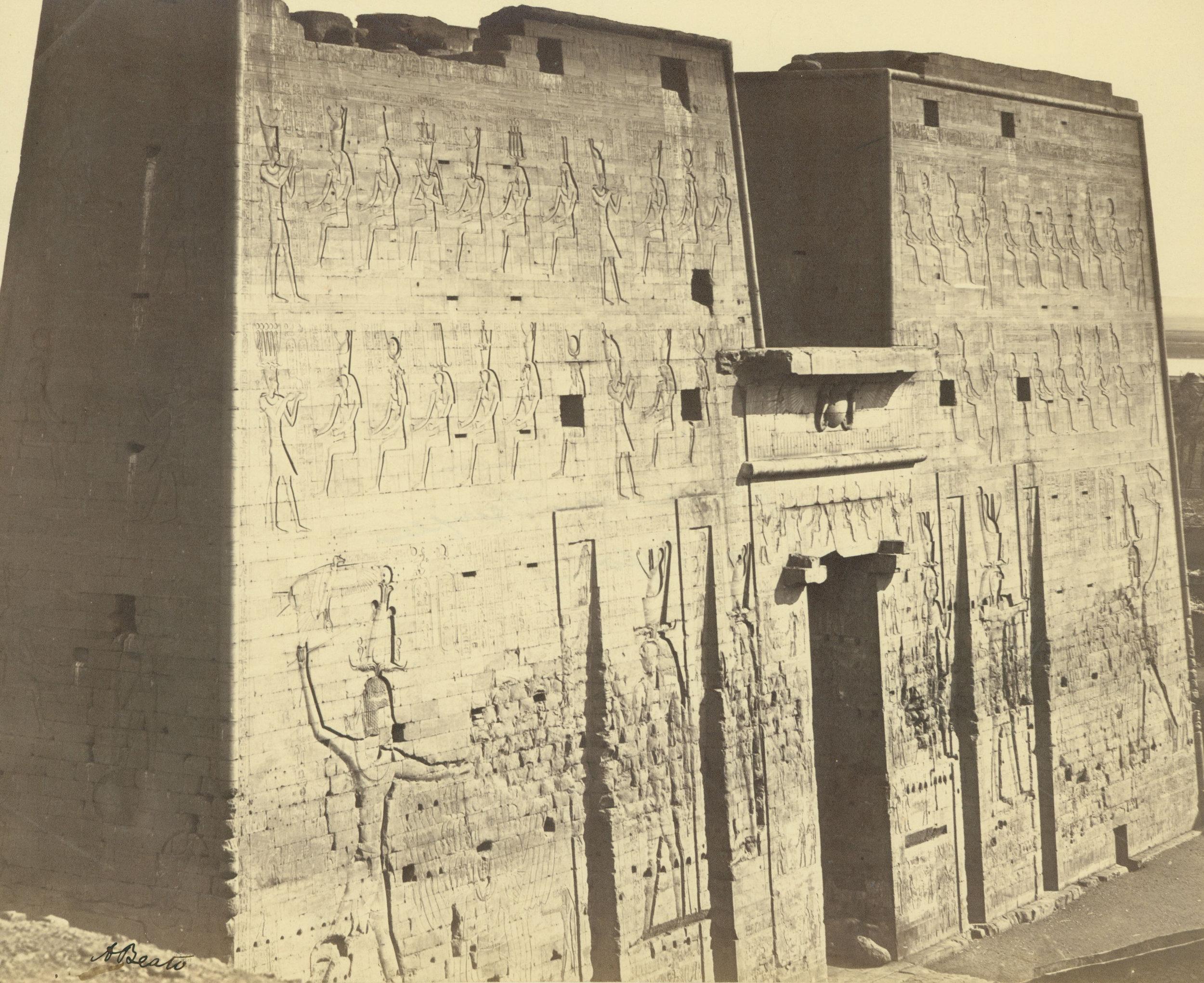 ANTONIO BEATO,  Pylon of the Temple of Horus at Edfu,   Egypt  c. 1887