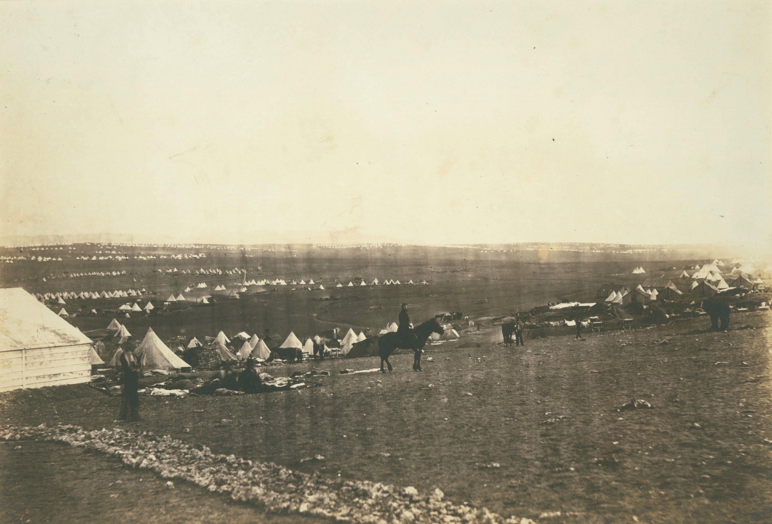 ROGER FENTON,  Crimean War: Plateau Before Sabastapol, Turkish Tents in the Distance,  1855