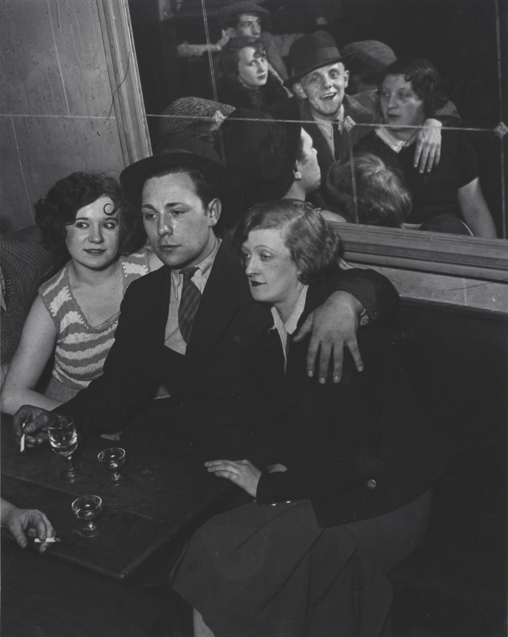 BRASSAI,  Groupe Joyeux au bal musette des Quatre Saisons,   rue de Lappe, Paris,  c. 1932