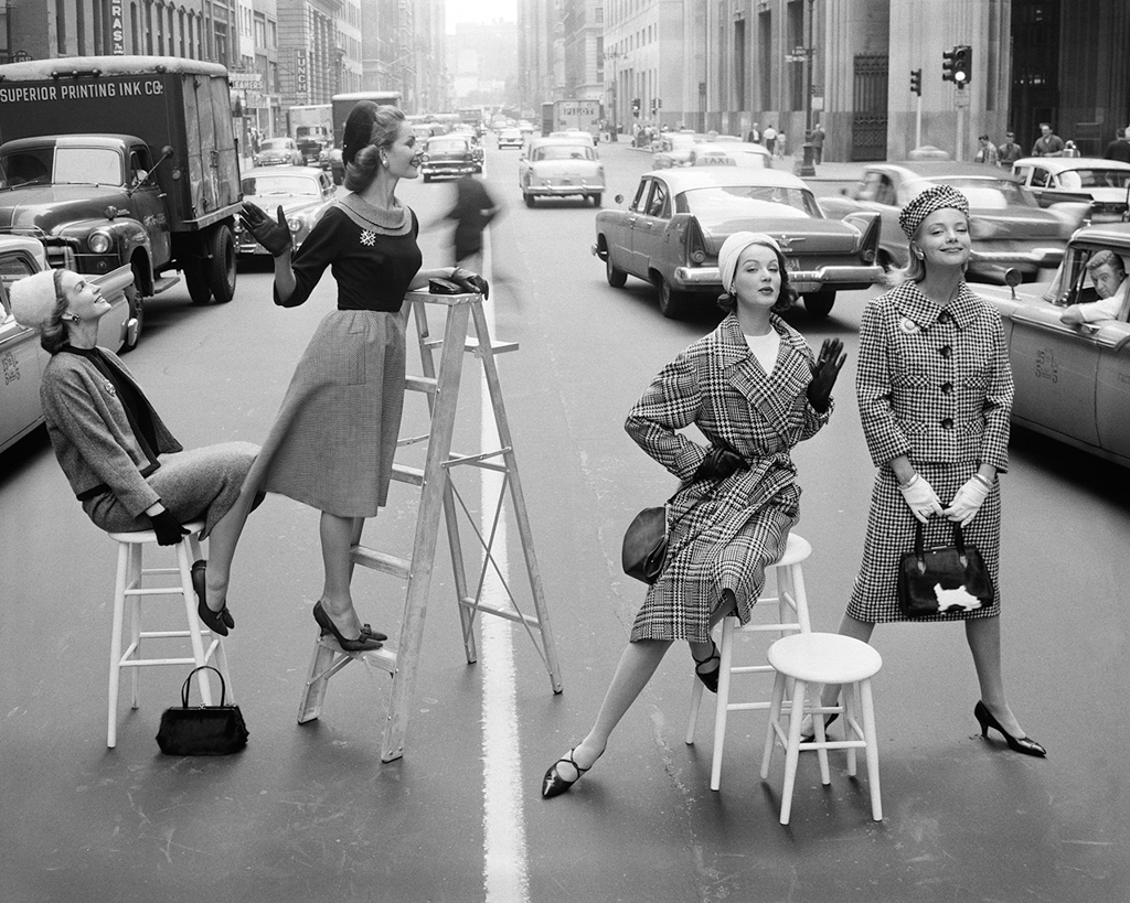 WILLIAM HELBURN,  Stopping Traffic (Joanna McCormick, Janet Randy, Betsy Pickering, and Gretchen Harris) ,  Park Avenue South, New York,  c. 1958