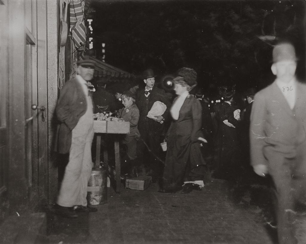 LEWIS WICKES HINE,  Small Vendor Selling Late at Night in Boston Market , Boston, Massachusetts, 1909