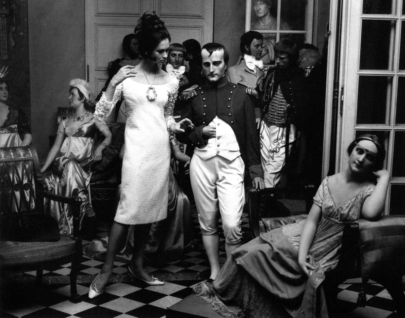 WILLIAM KLEIN, Marie-Lise in Saint Laurent and Napoleon, Musée Grévin, Vogue, Paris, France, 1963