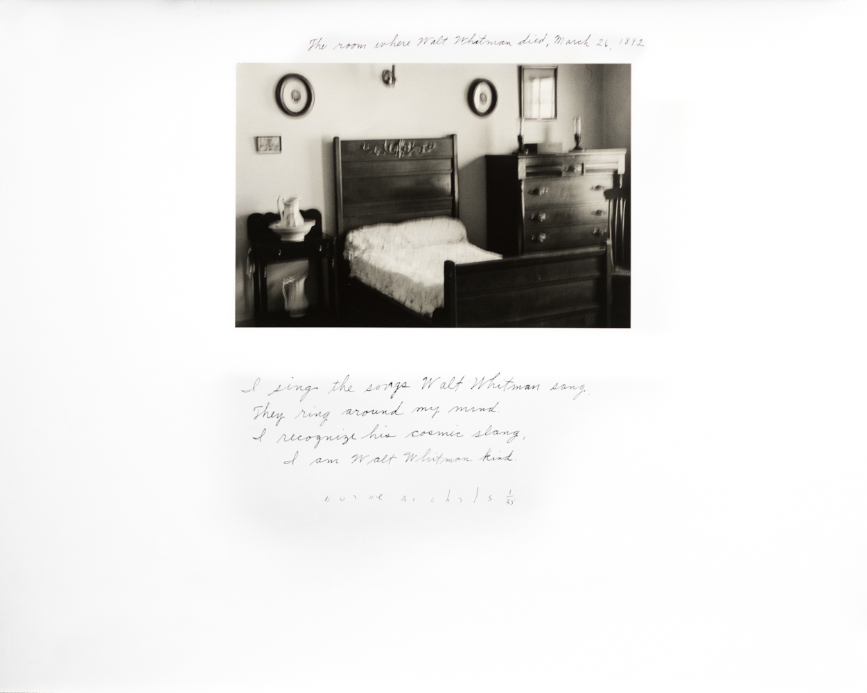 DUANE MICHALS,  The Room Where Walt Whitman Died , 1995