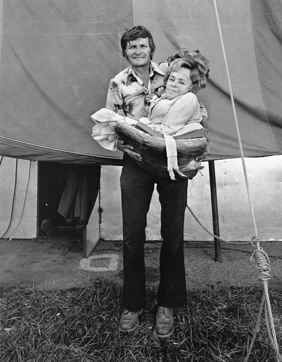 """RANDAL LEVENSON,  Barbara Bennett, """"World's Smallest Mother,"""" with Ed Bennett, Columbus, Ohio , 1976"""