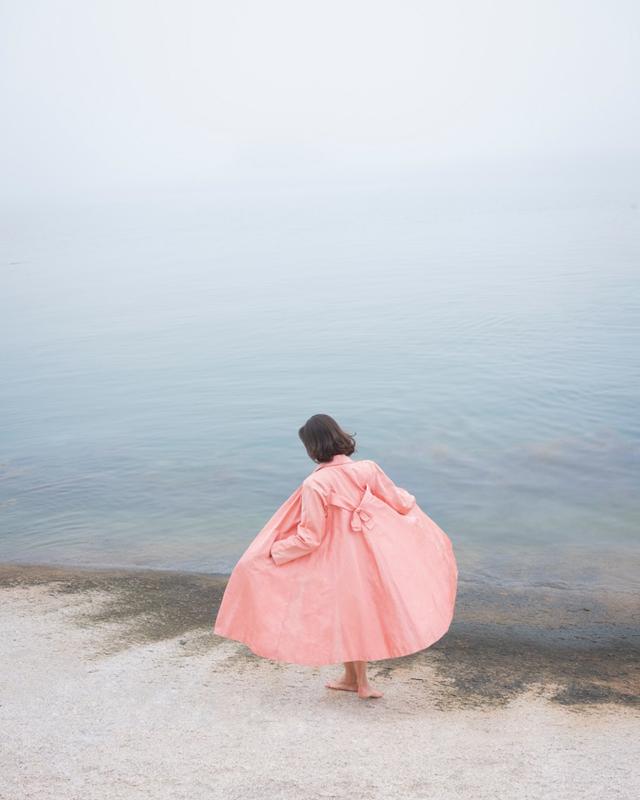 CIG HARVEY,  Jesse in the Fog, Pink Coat , 2018