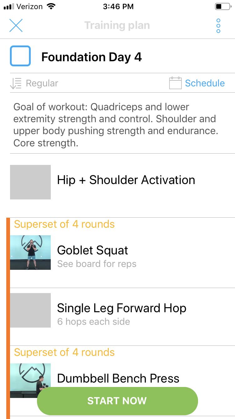 Screenshot from smartphone training app