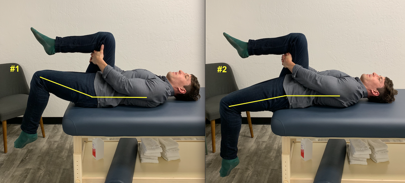 The Thomas Test. The first picture demonstrates hip flexor tightness, as the hips do not come to full extension. In the second picture, the hips come past neutral into extension, demonstrating fairly normal hip flexor length. A hip flexor stretch is likely appropriate for picture #1. But if you are picture #2, your hip flexors are not short, and any tightness you feel is likely caused by something other than muscle length.