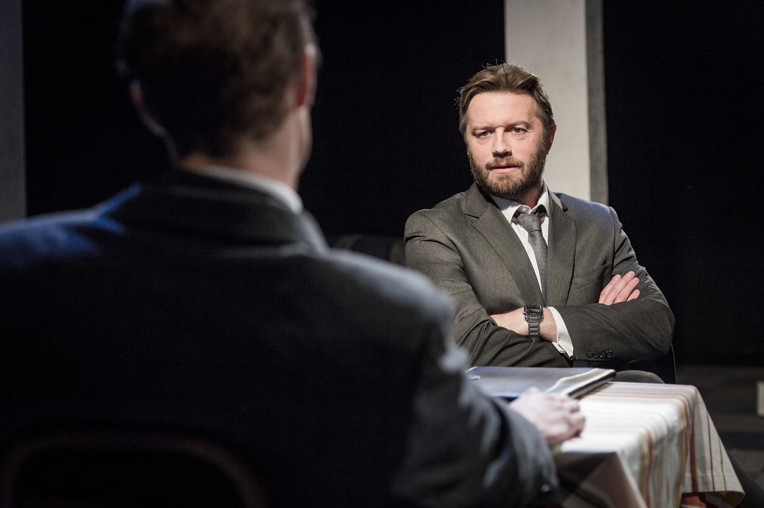 Andrew Whipp in Farragut North, Southwark Playhouse Off West End, composer - Jude Obermüller (photo by Robert Workman)