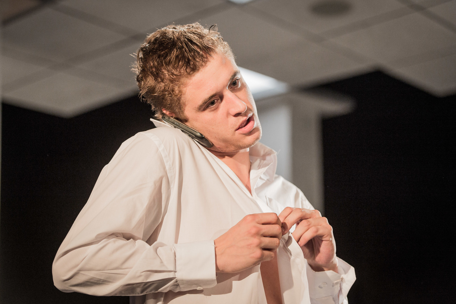 Max Irons in Farragut North, Southwark Playhouse Off West End, composer - Jude Obermüller (photo by Robert Workman)